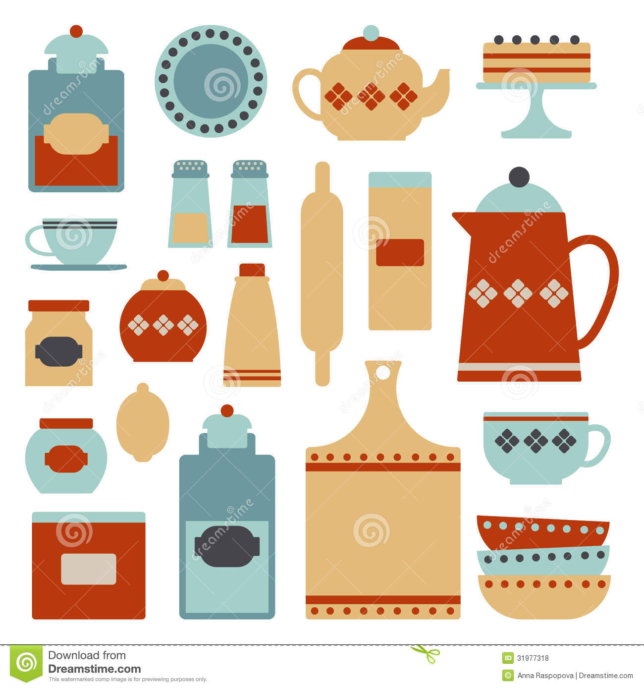 Kitchen Set Stock Vector Illustration Of Accessory
