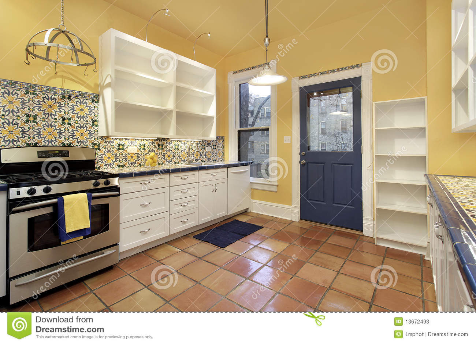 Kitchen With Terra Cotta Floor Tile Stock Photos Image