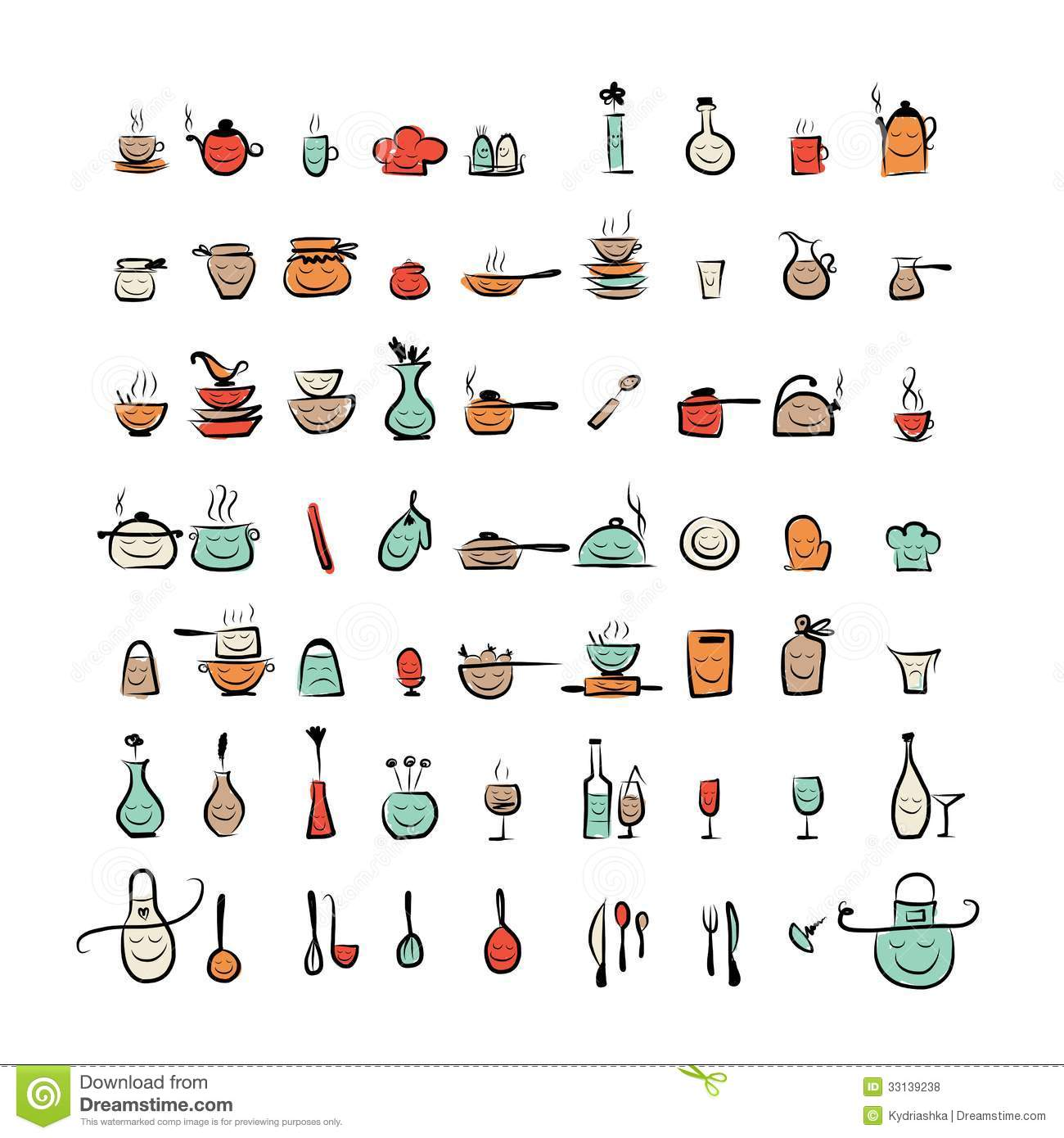 Kitchen Utensils Characters Sketch Drawing Icons Royalty
