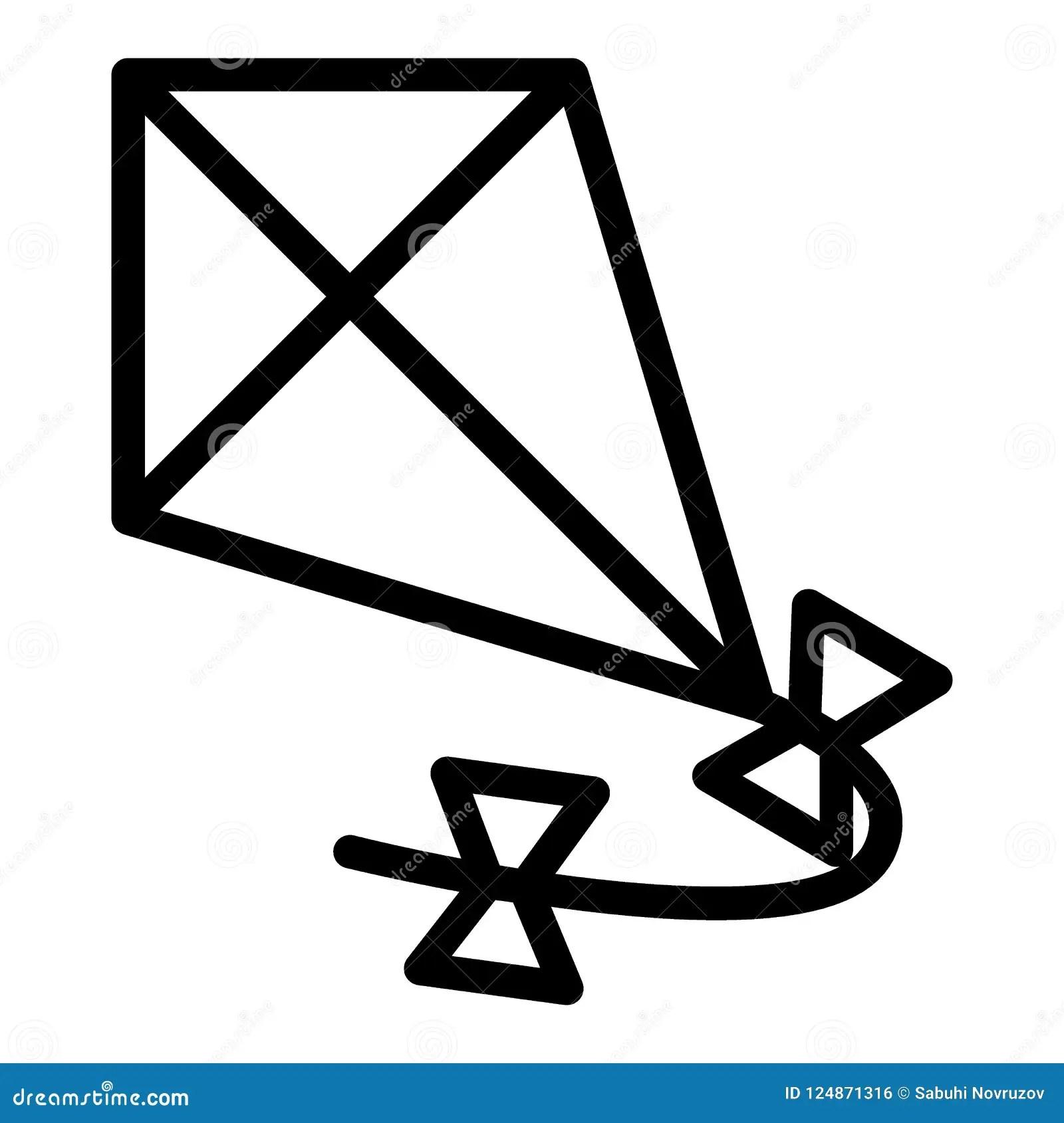 Kite Line Icon Flying Kite Vector Illustration Isolated