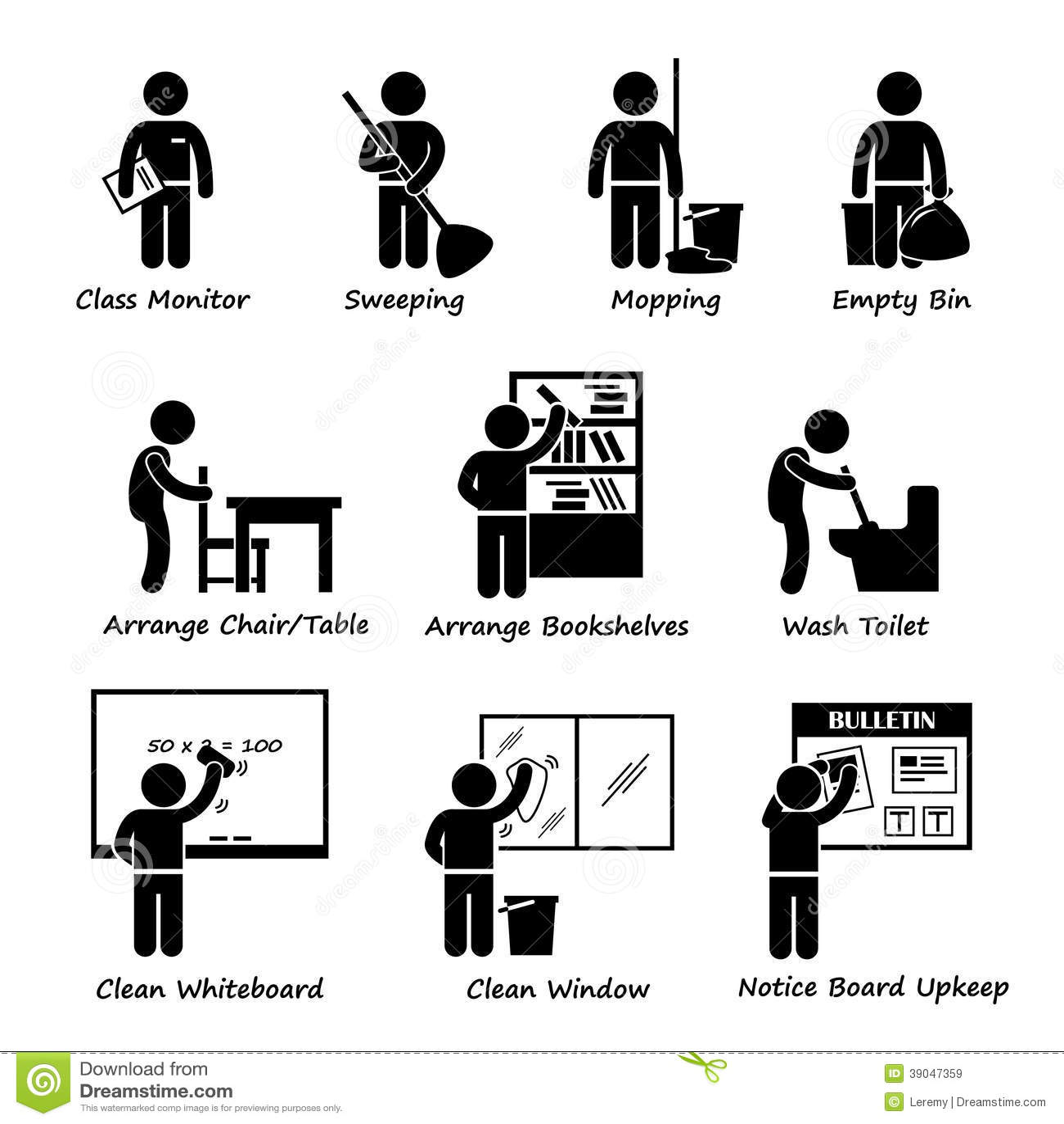 Klassenzimmer Student Duty Roster Clipart Vektor Abbildung