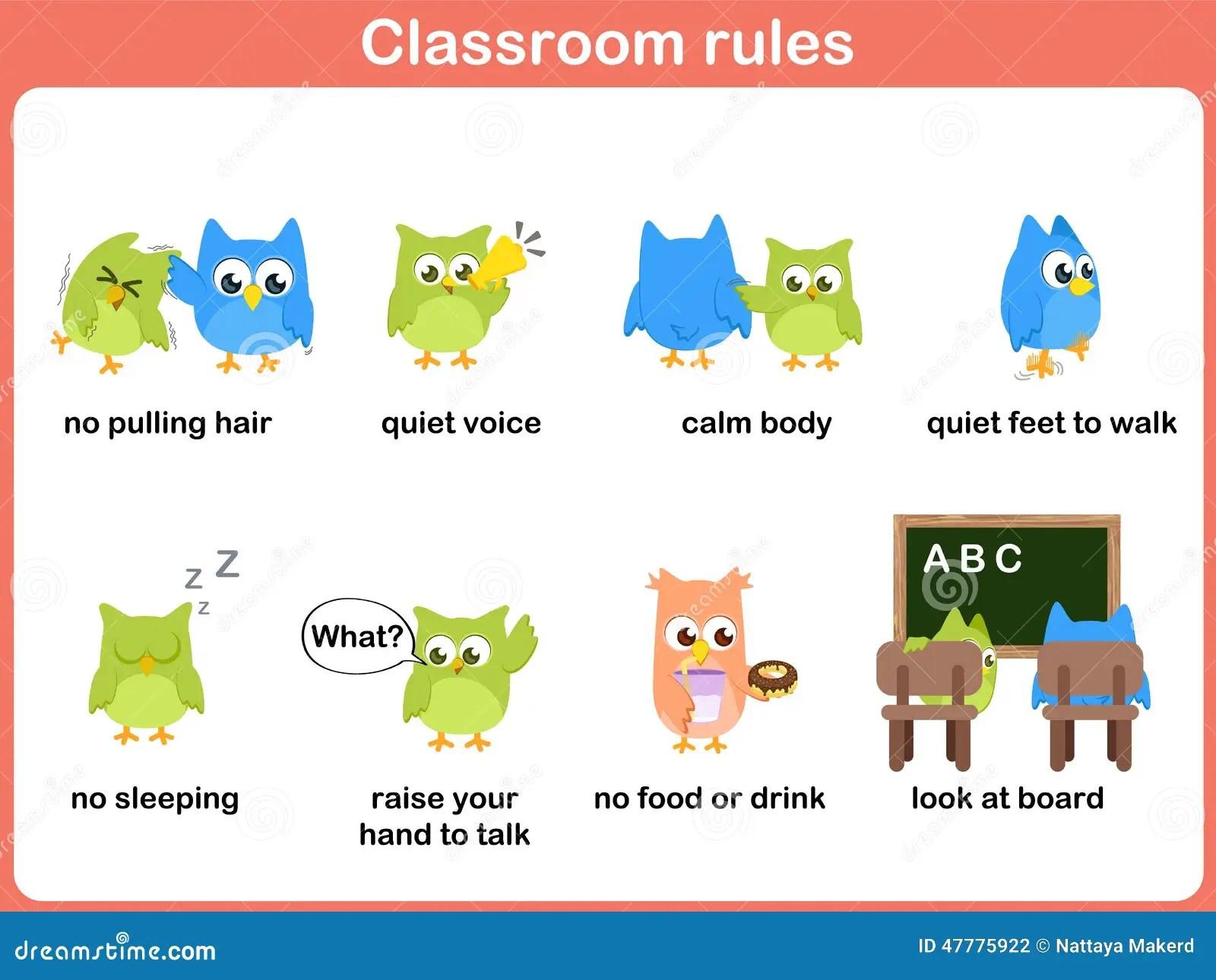 Klassenzimmerregeln Fur Kinder Vektor Abbildung