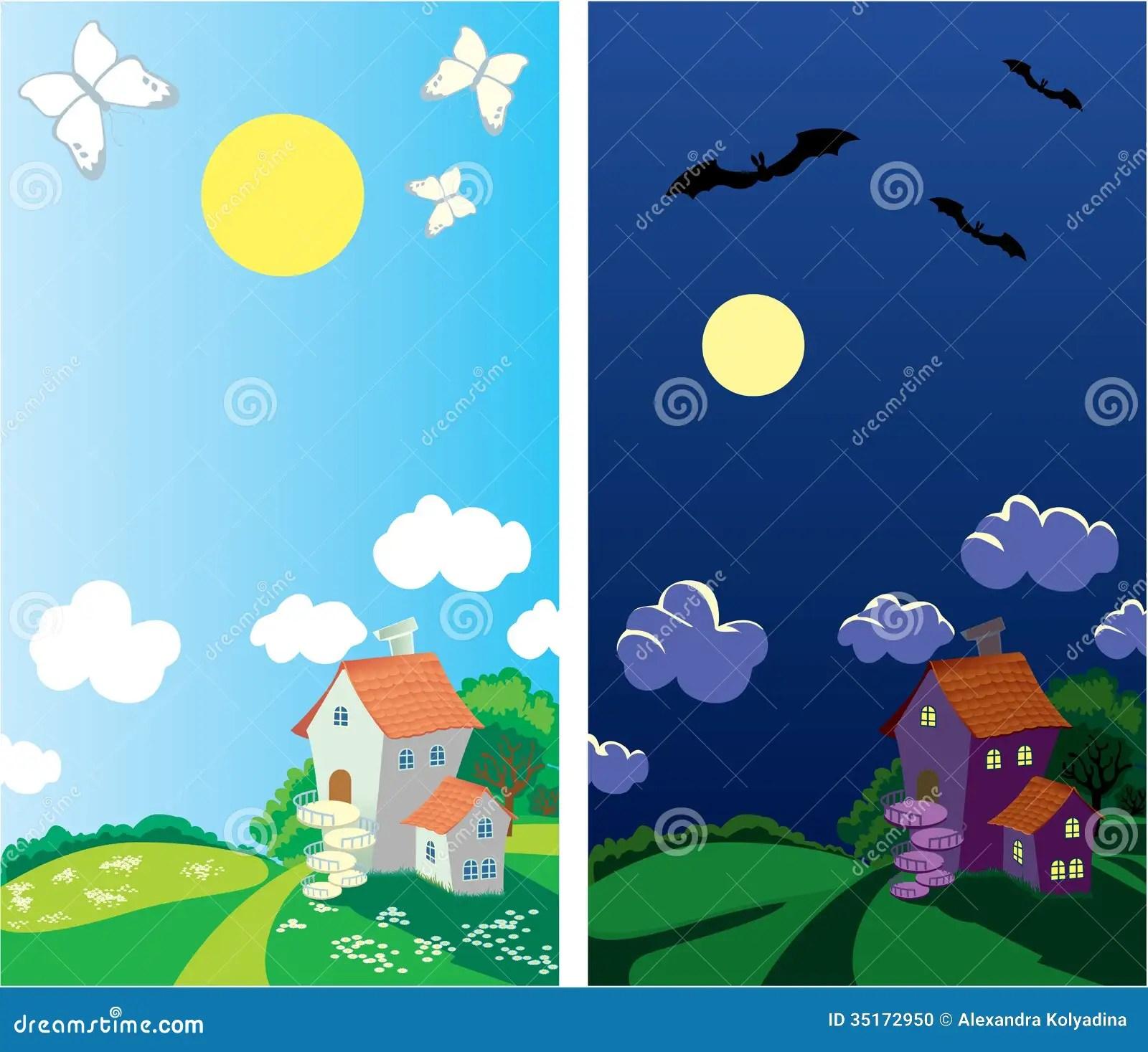 Klein Landelijk Huis Dag En Nacht Stock Foto