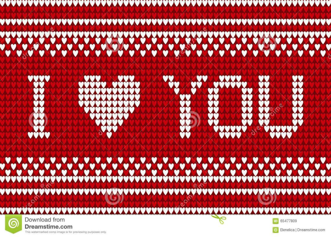 Download Knitted Pattern With I Love You Inscription Stock Vector ...