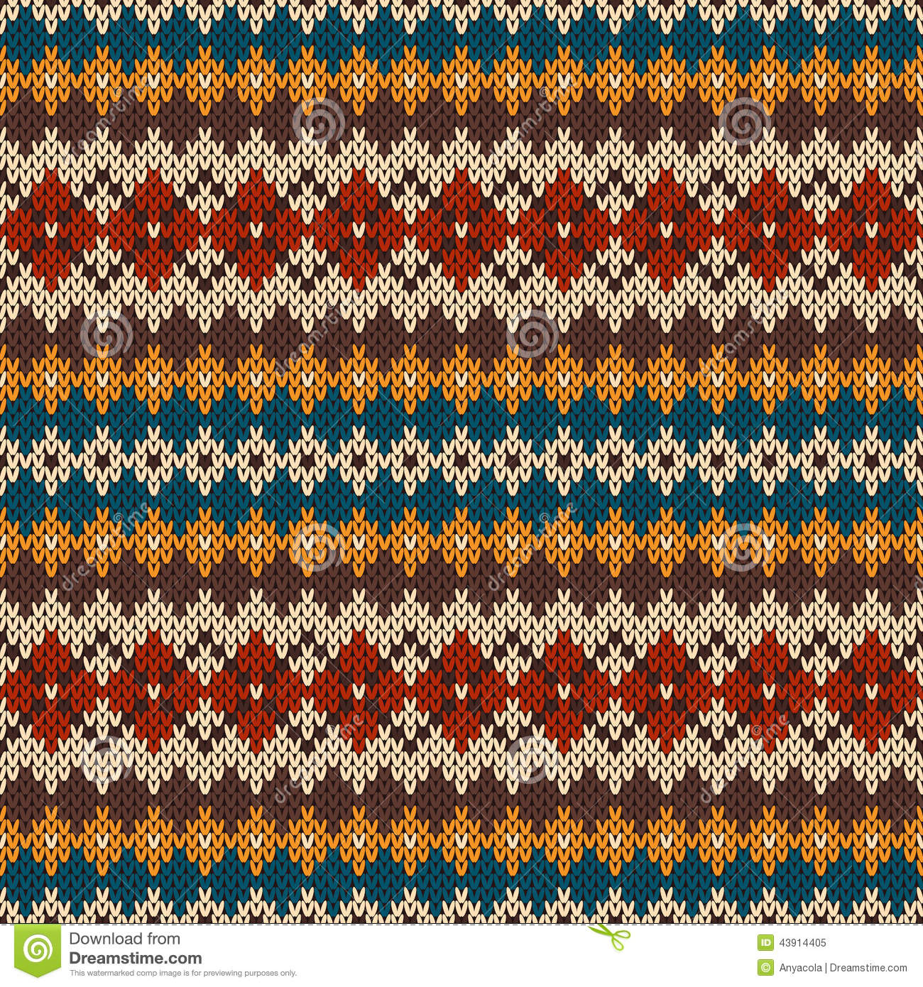 Knitted Seamless Pattern In Fair Isle Style EPS Available