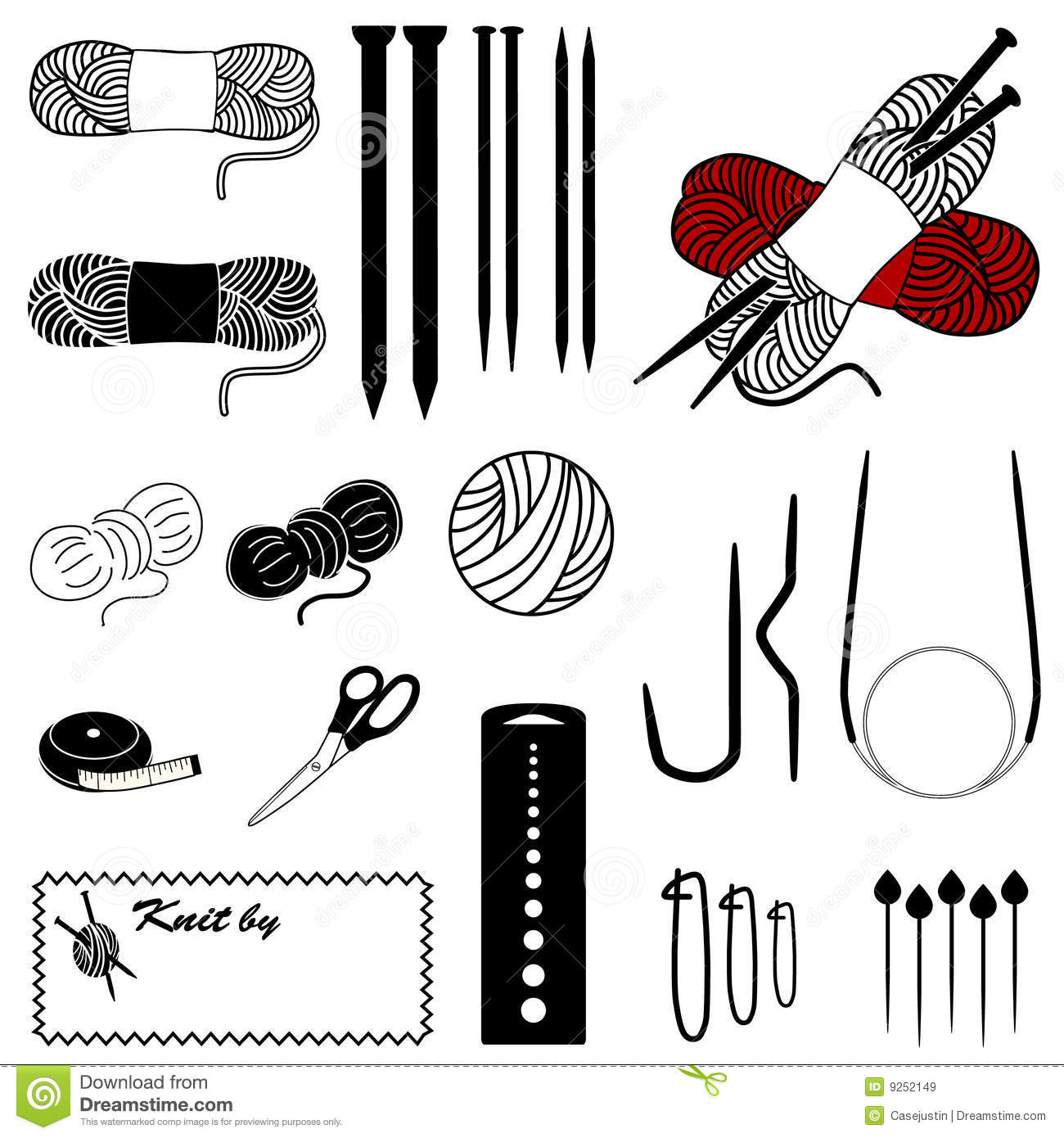 Knitting Icons Royalty Free Stock Images