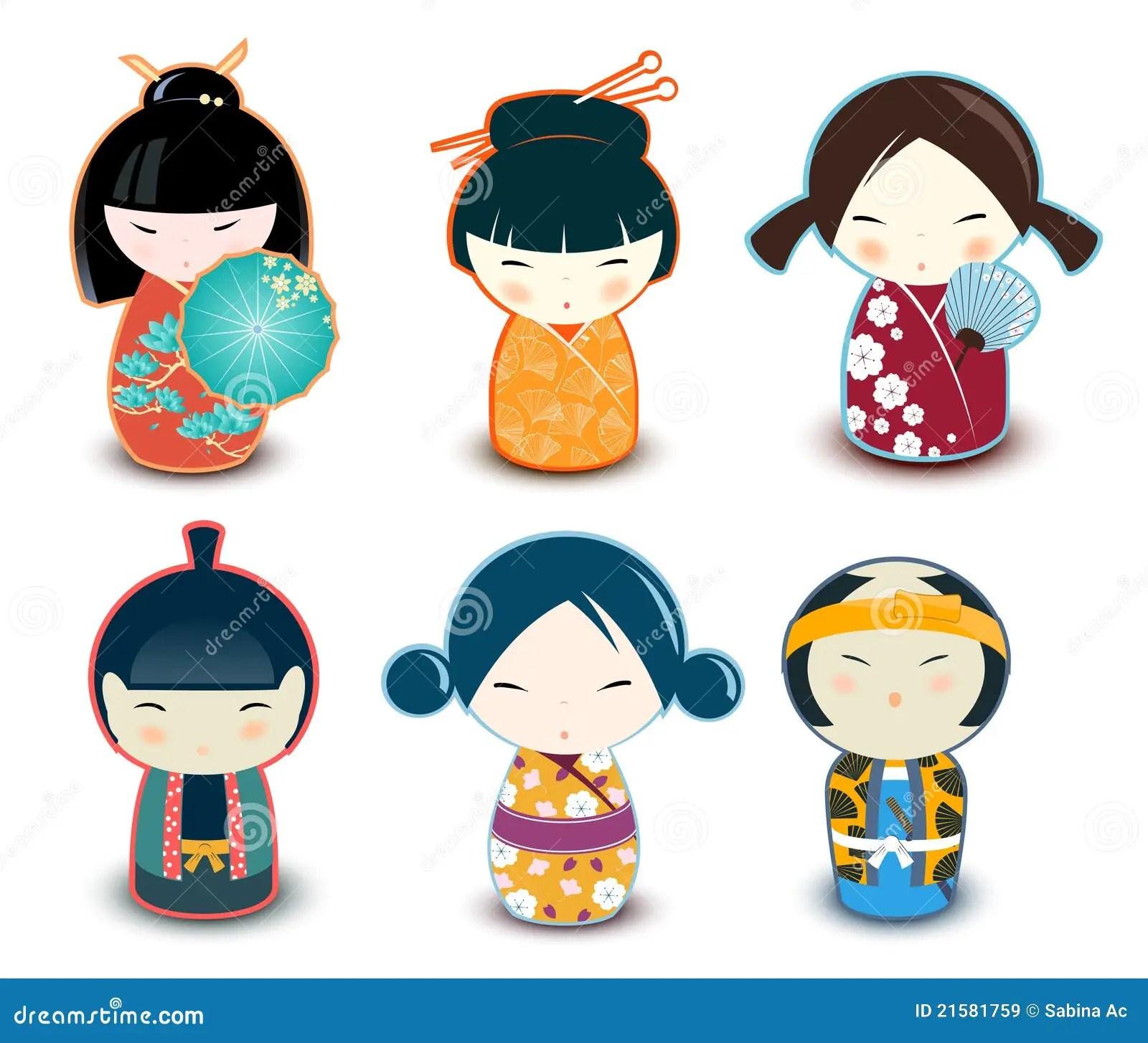 Kokeshi Dolls Stock Vector Illustration Of White