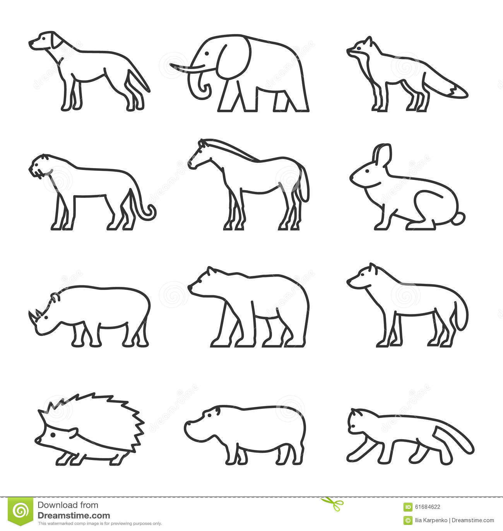 Kontur Ikony Zwierz Ta Ustawiaj Cy Domowy I Dziki