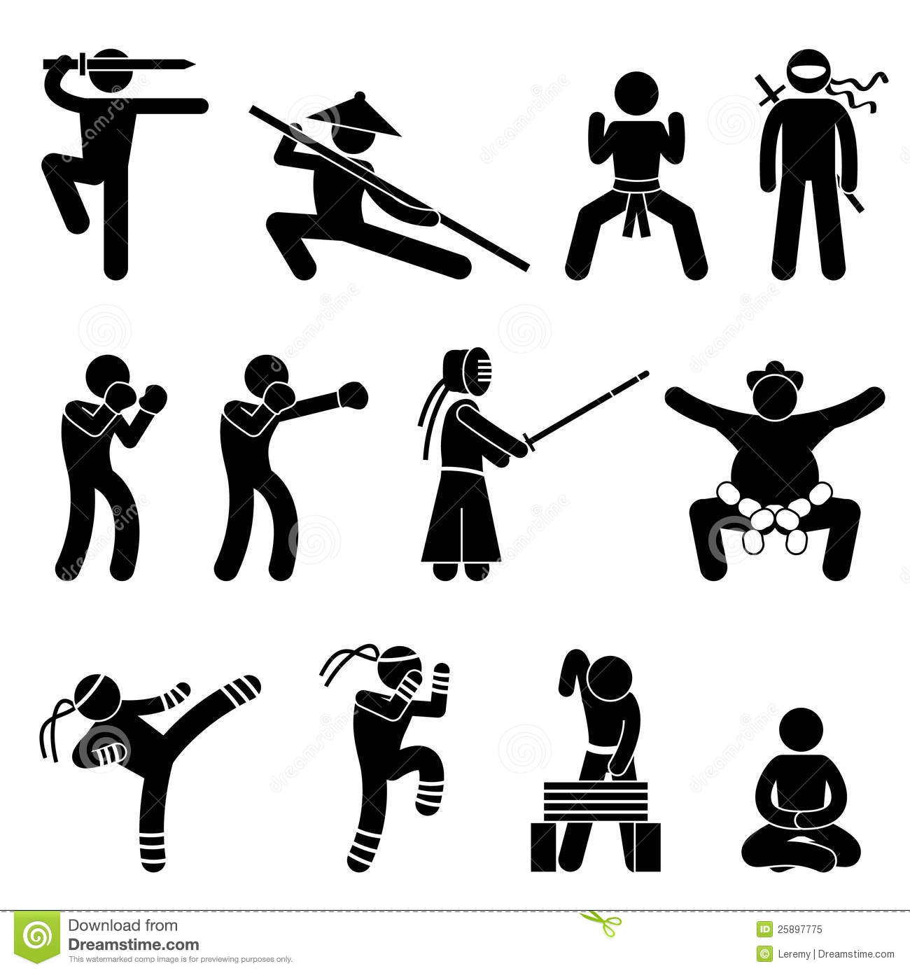 Kung Fu Martial Arts Self Defense Pictogram Royalty Free