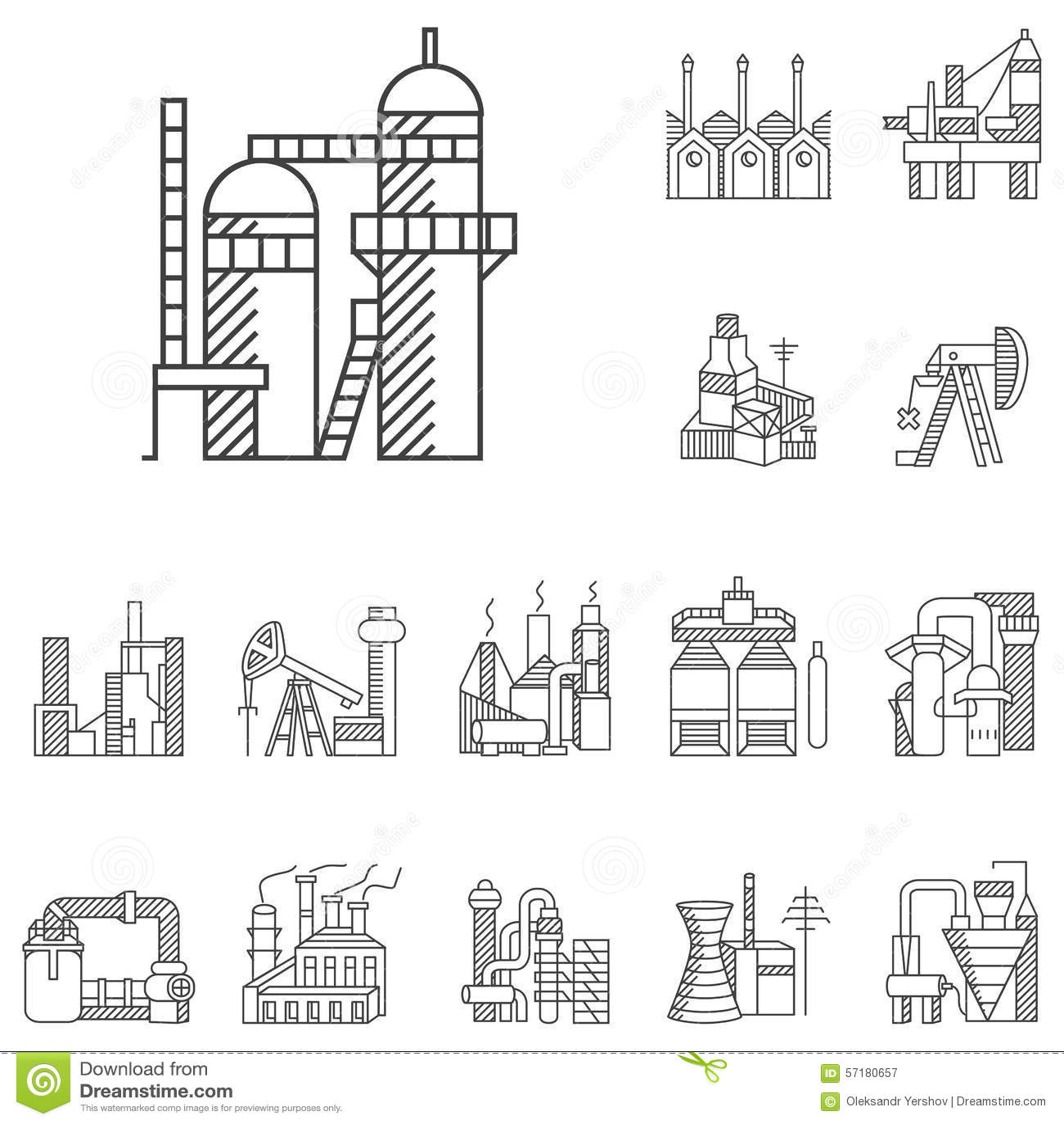 Linea Iconos De Las Plantas Y De Las Fabricas Stock De