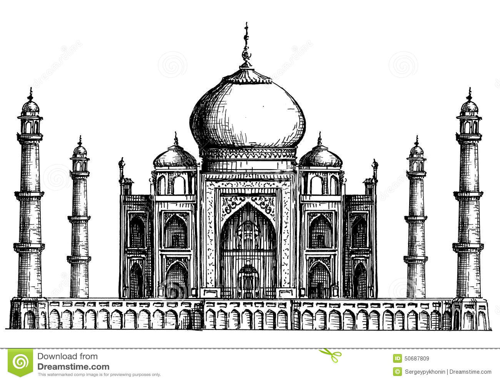 L Inde Taj Mahal Sur Un Fond Blanc Croquis Illustration