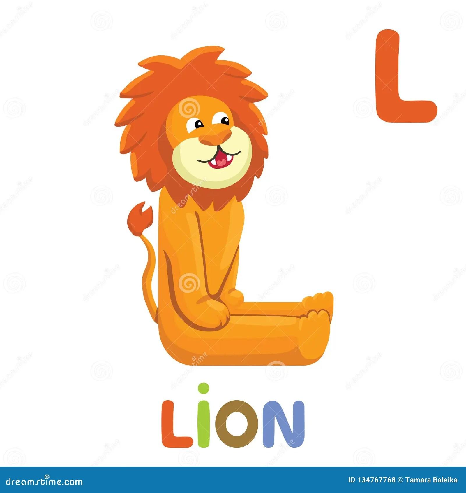 L Is For Lion Letter L Lion Cute Illustration Animal