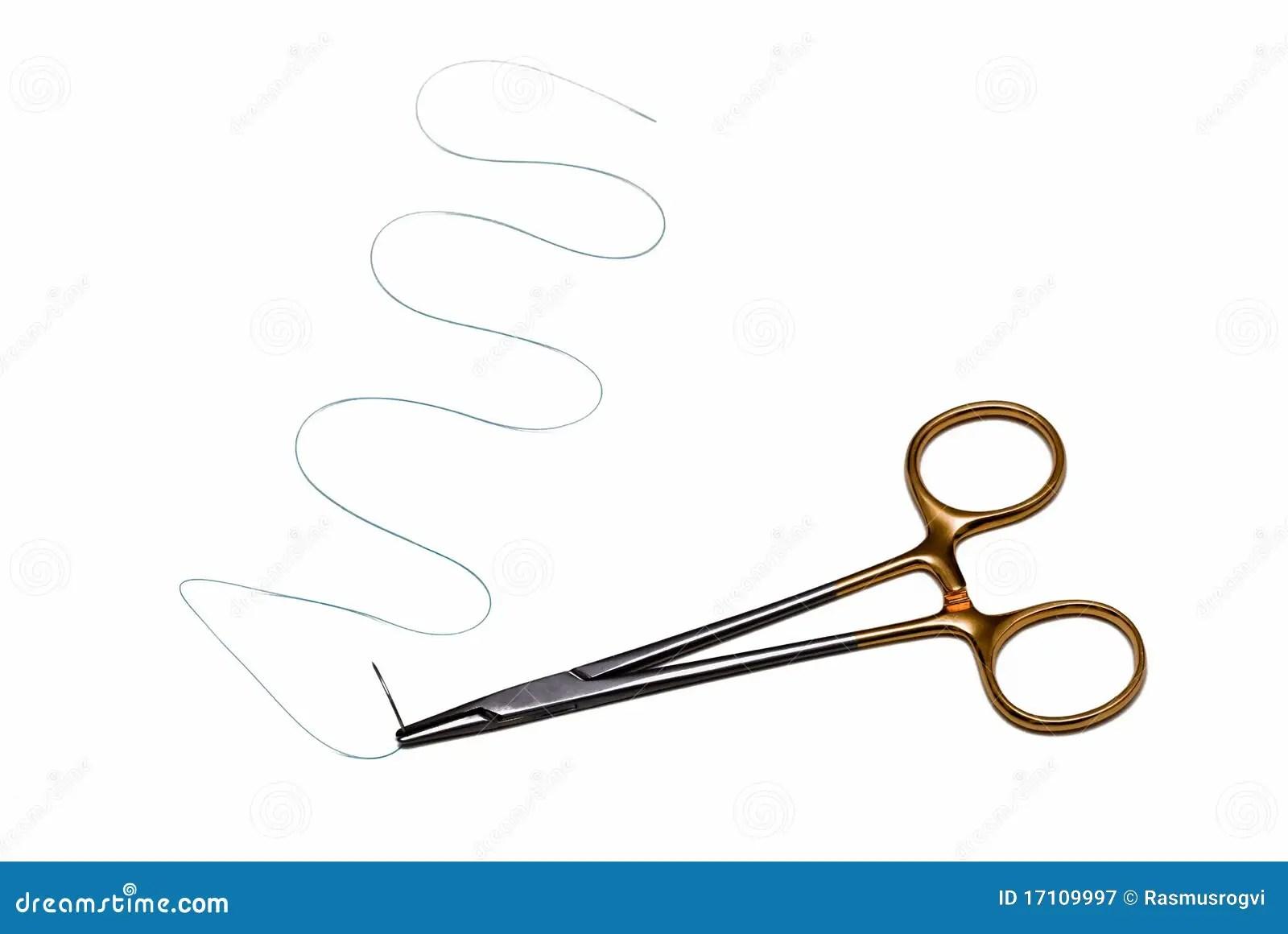 La Aguja Quirurgica De La Sutura Con Scissor Fotografia De