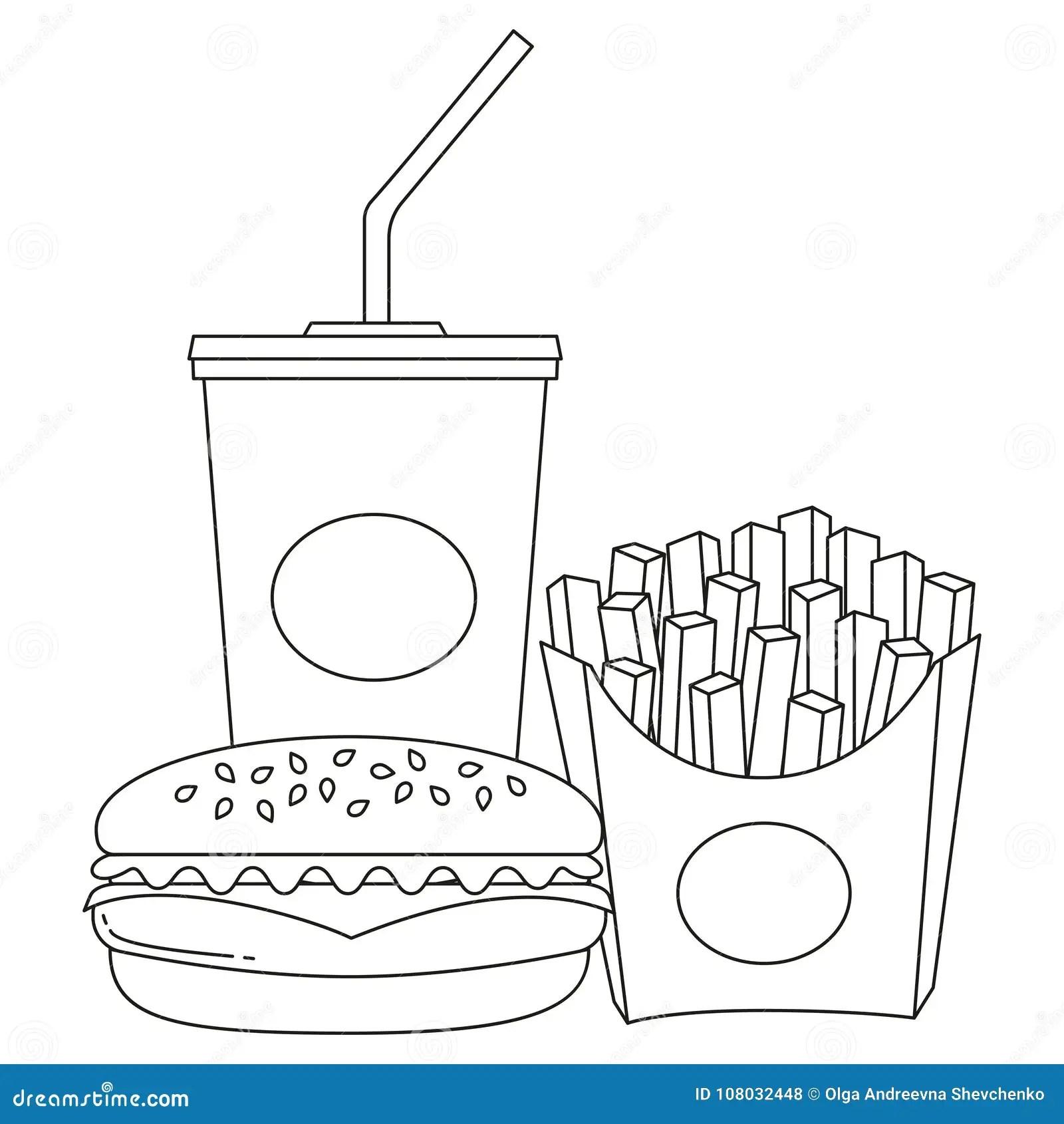 La Linea In Bianco E Nero Hamburger Della Soda Degli