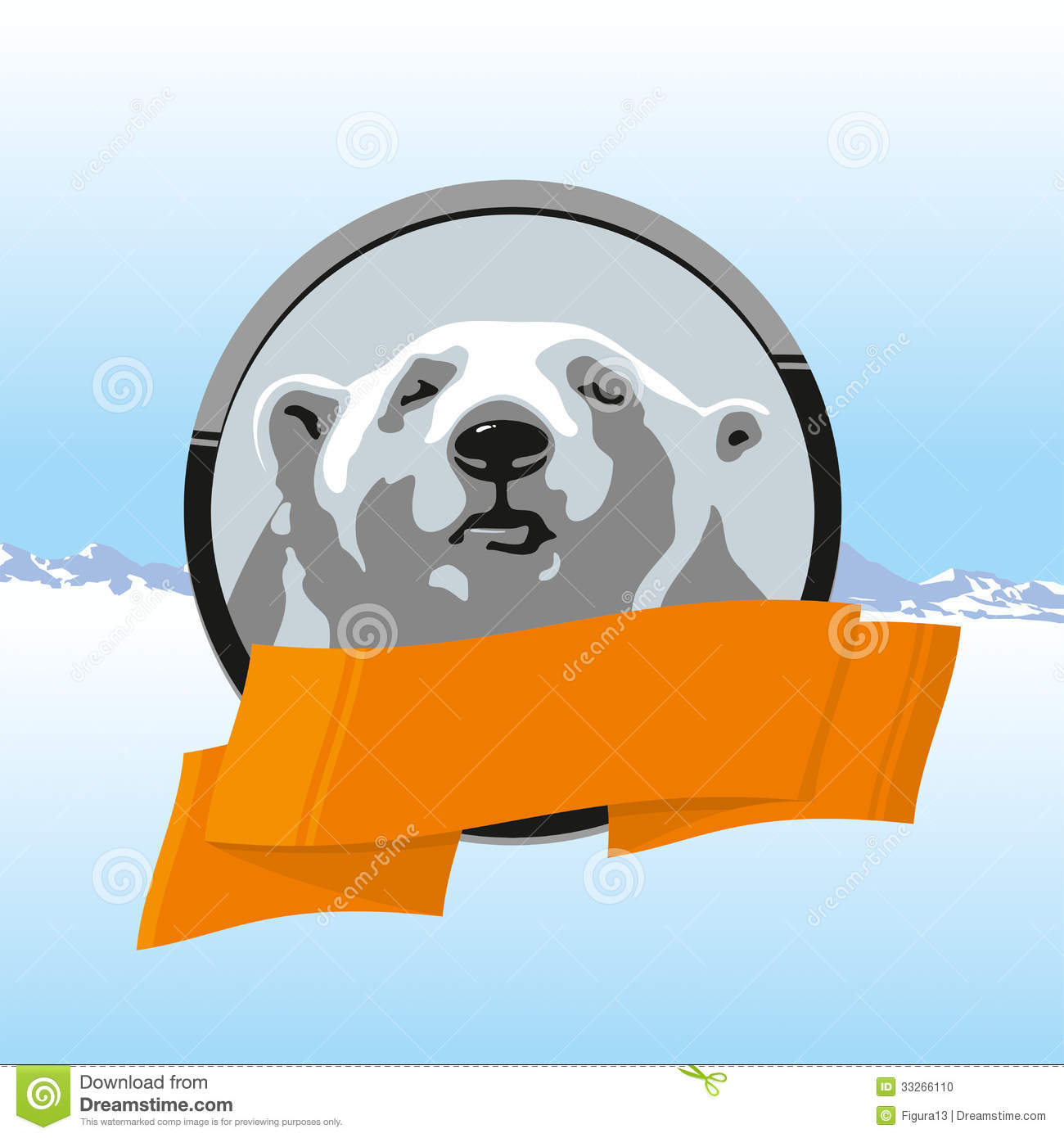 Label Polar Bear With Orange Ribbon Stock Photo