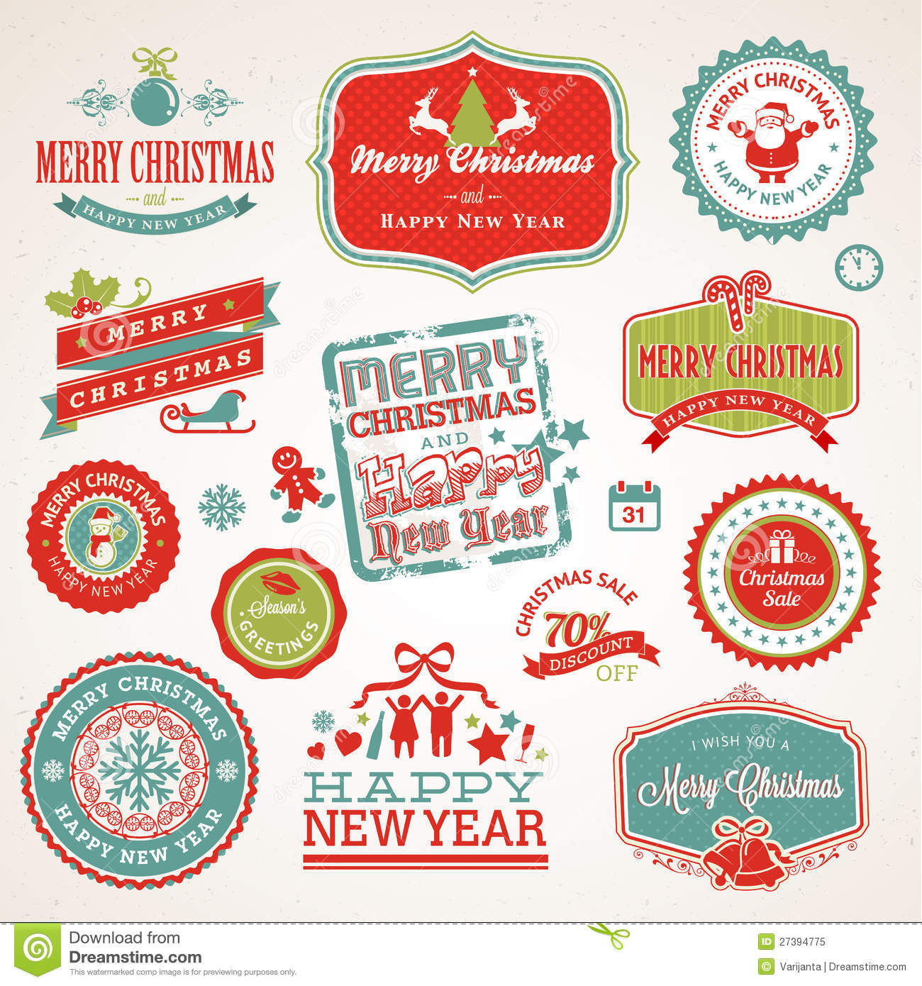 Labels And Elements For Christmas And New Year Royalty