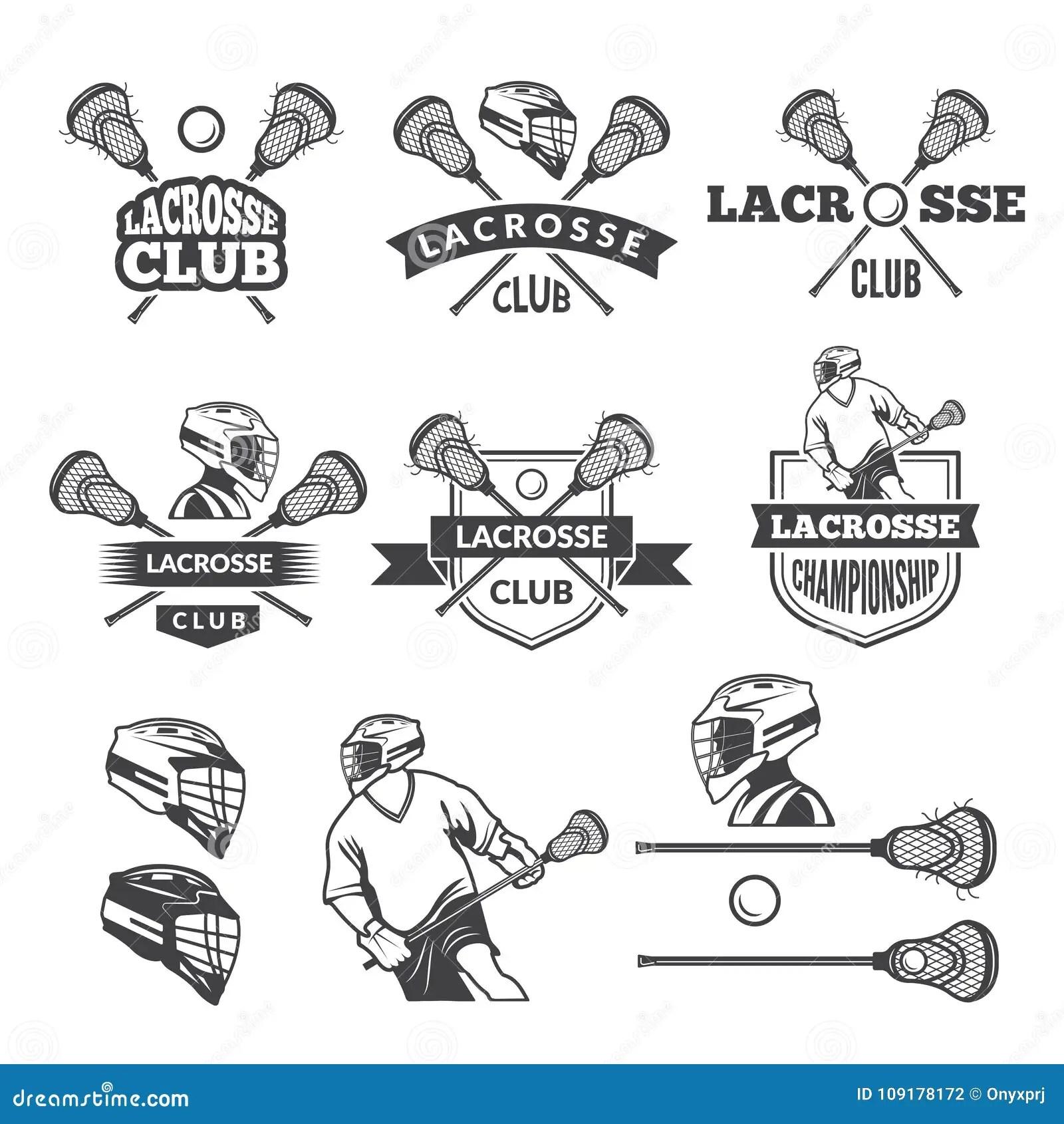 Lacrosse Club Emblem With Head Of Bear Cartoon Vector