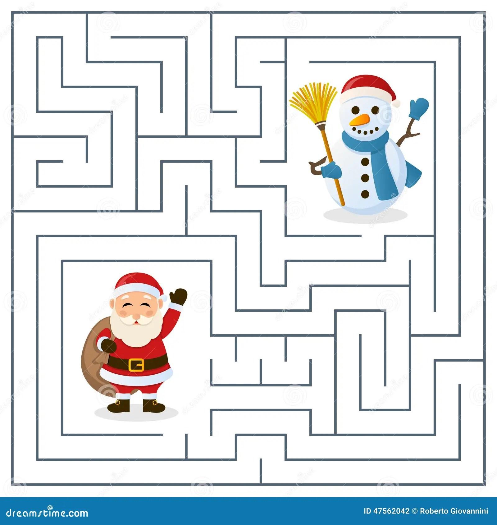 Laberinto De Santa Claus Y Del Muneco De Nieve Para Los