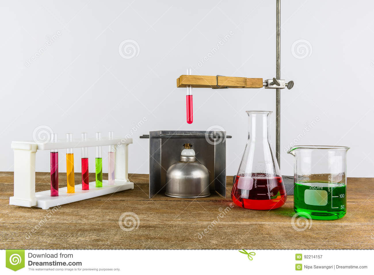 Laboratory Equipment Test Tube Holder And Alcohol Lamp Test Tub Stock Image