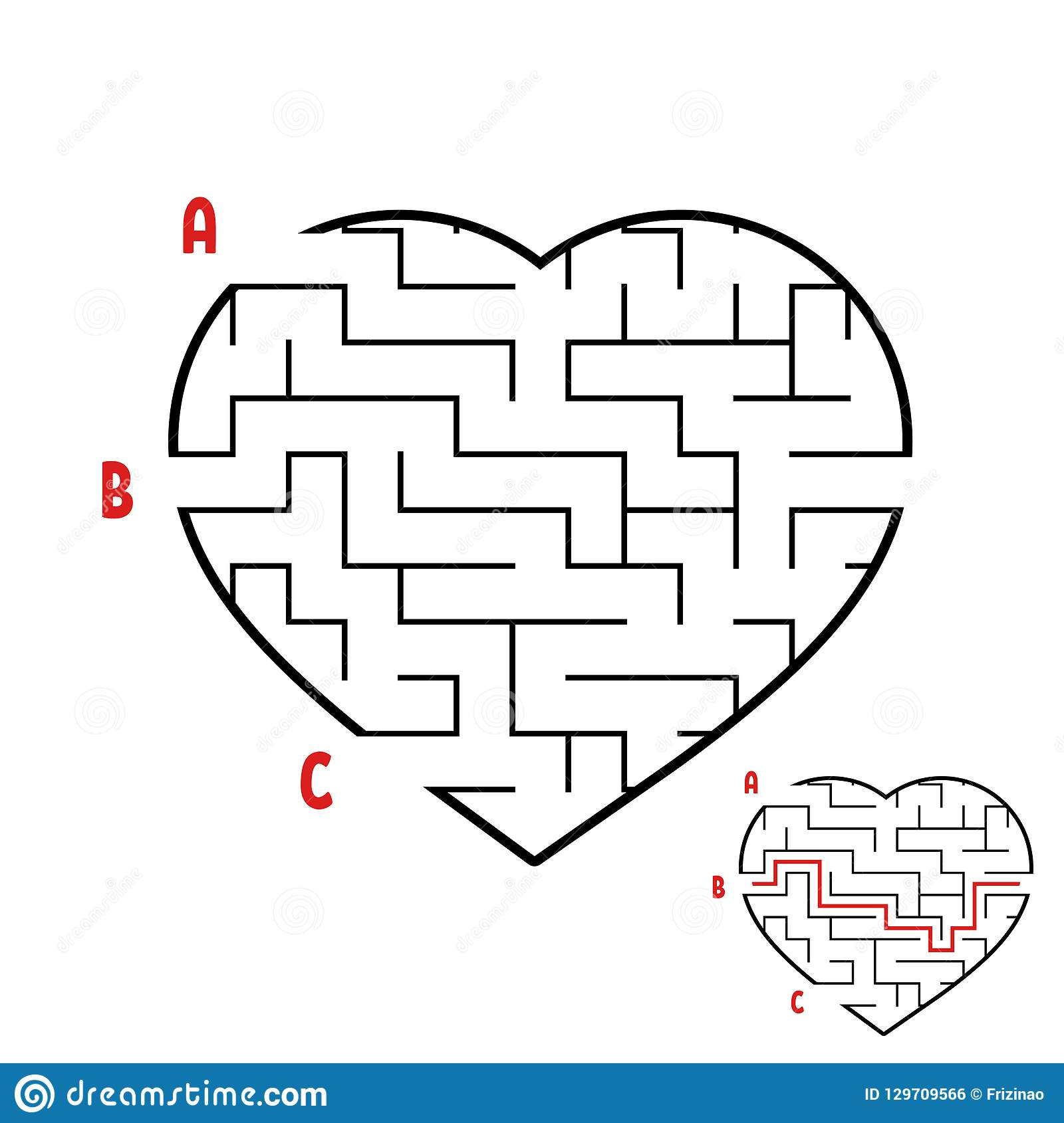 Labyrinth In The Shape Of A Heart Game For Kids Puzzle