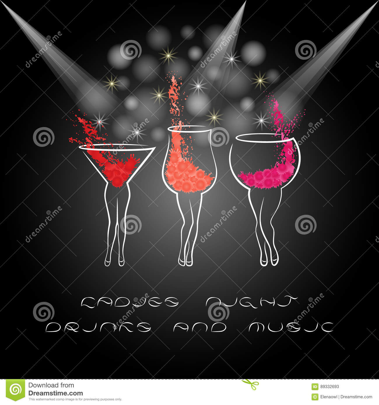 Ladies Night Poster With Cocktails Design For Women Party