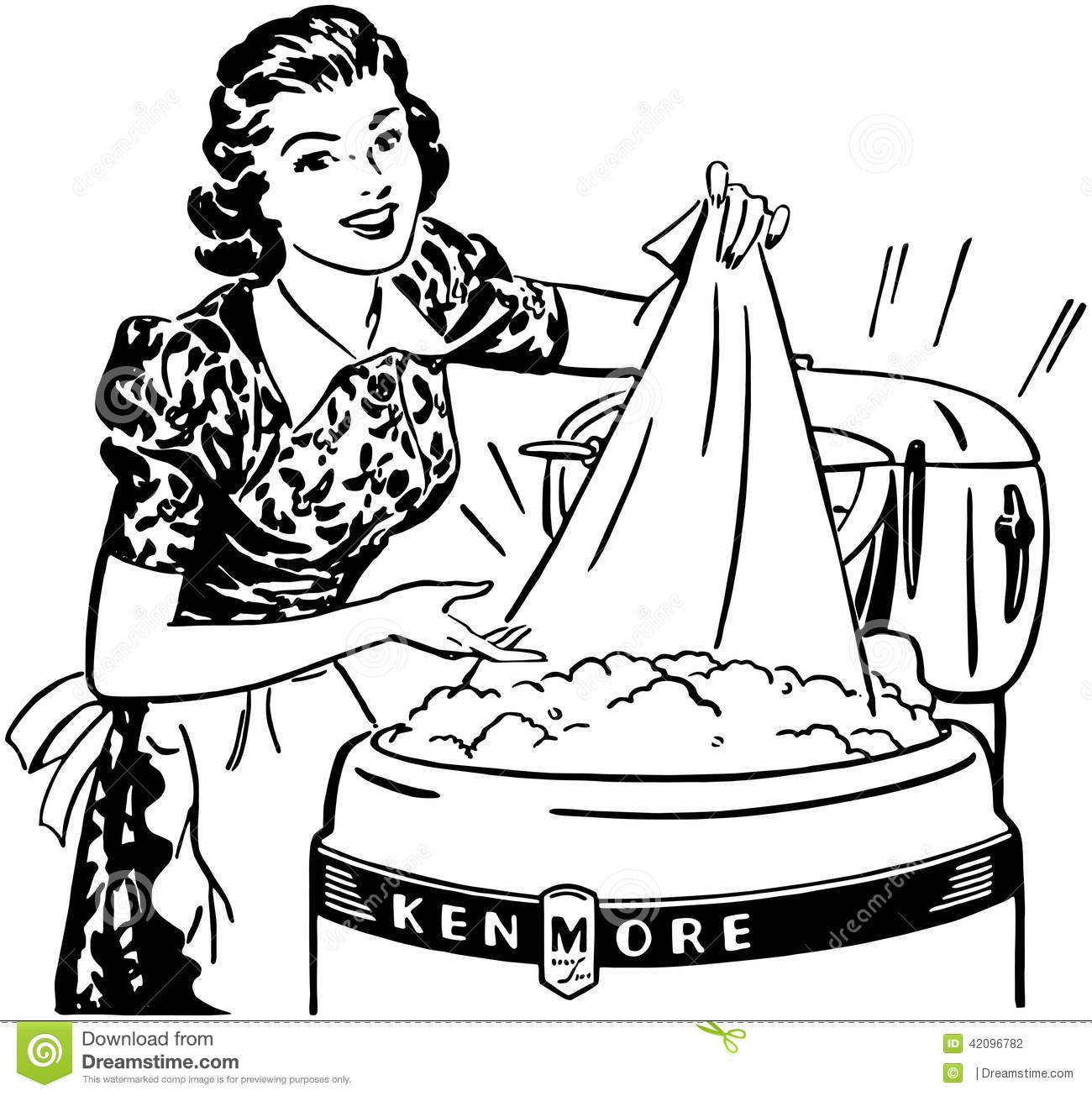 Lady Doing Laundry Stock Vector Illustration Of