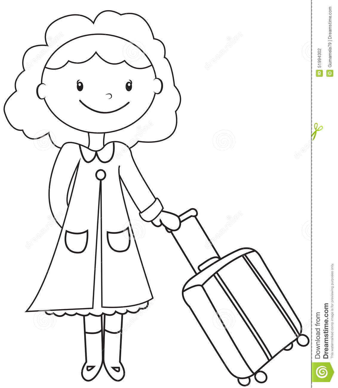 Lady With A Luggage Coloring Page Stock Illustration