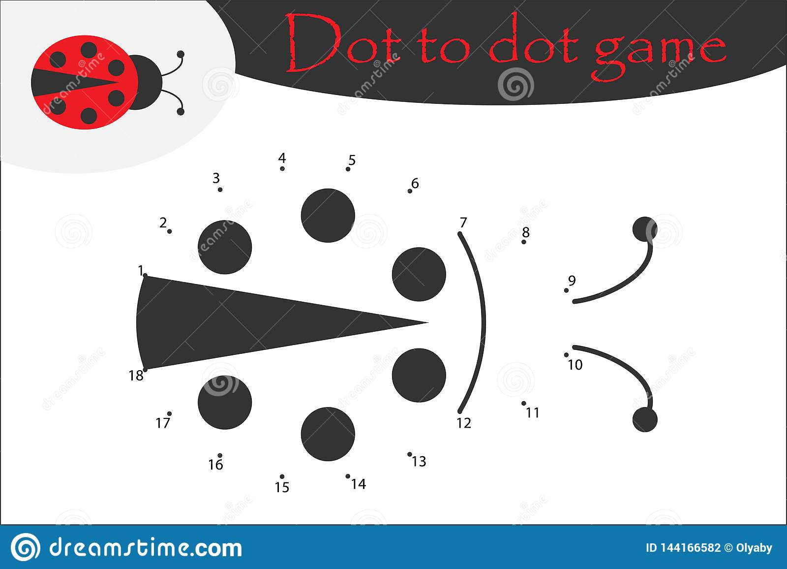 Ladybug In Cartoon Style Dot To Dot Game Coloring Page