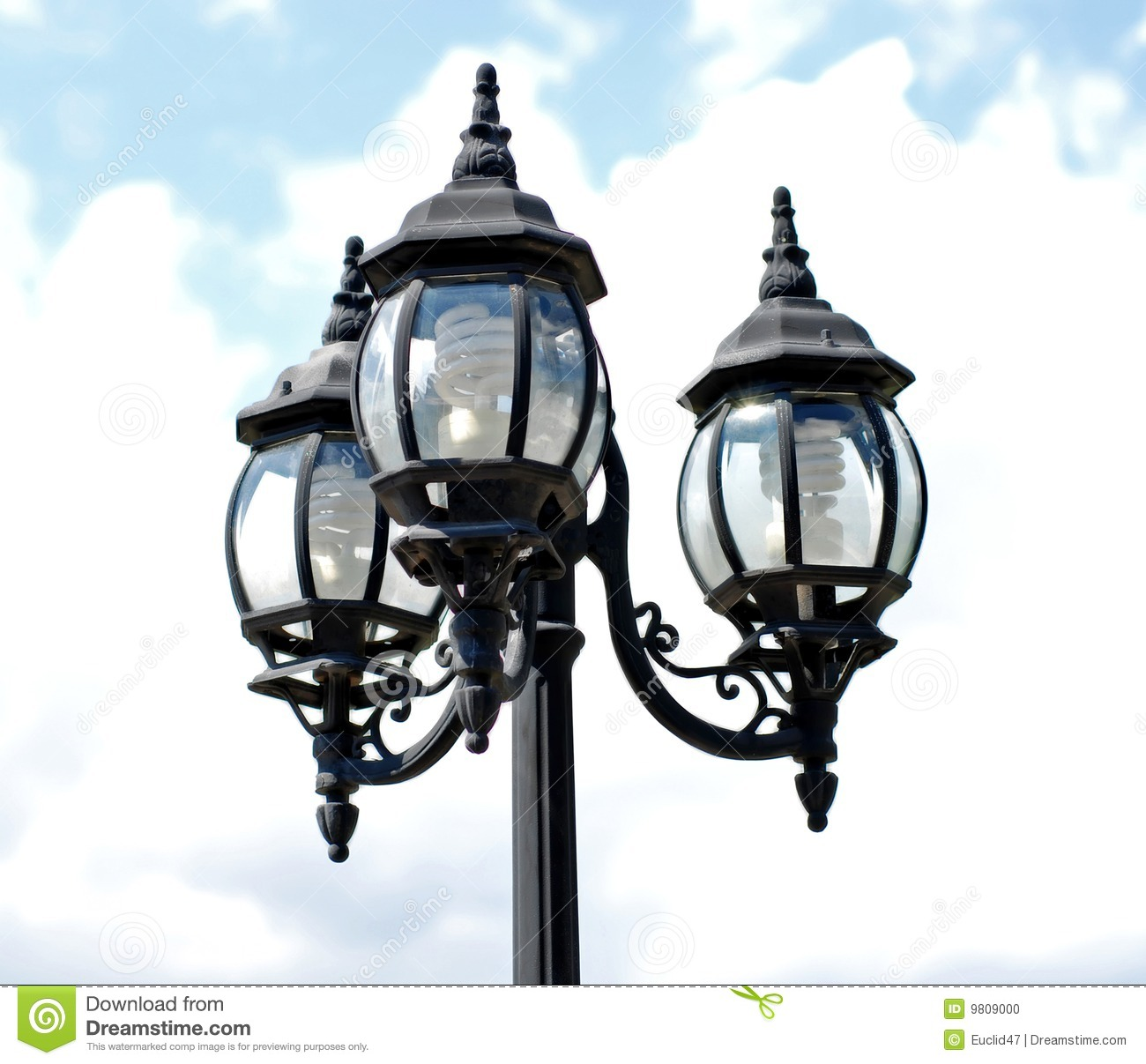 Lamp Post With Three Lights Stock Photo Image Of Spiral