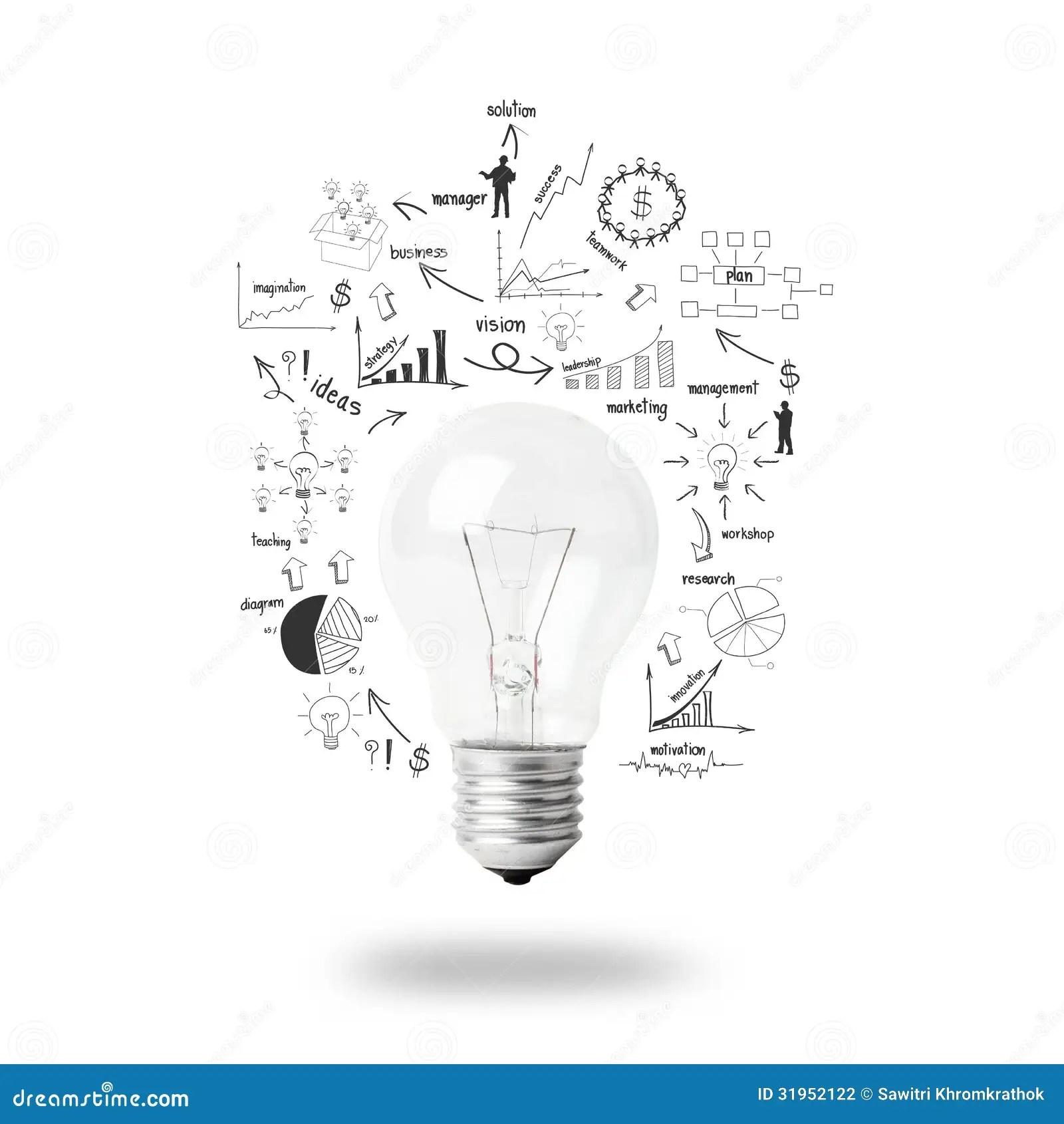 Lampadina Con L Idea Di Concetto Di Strategia Del Business