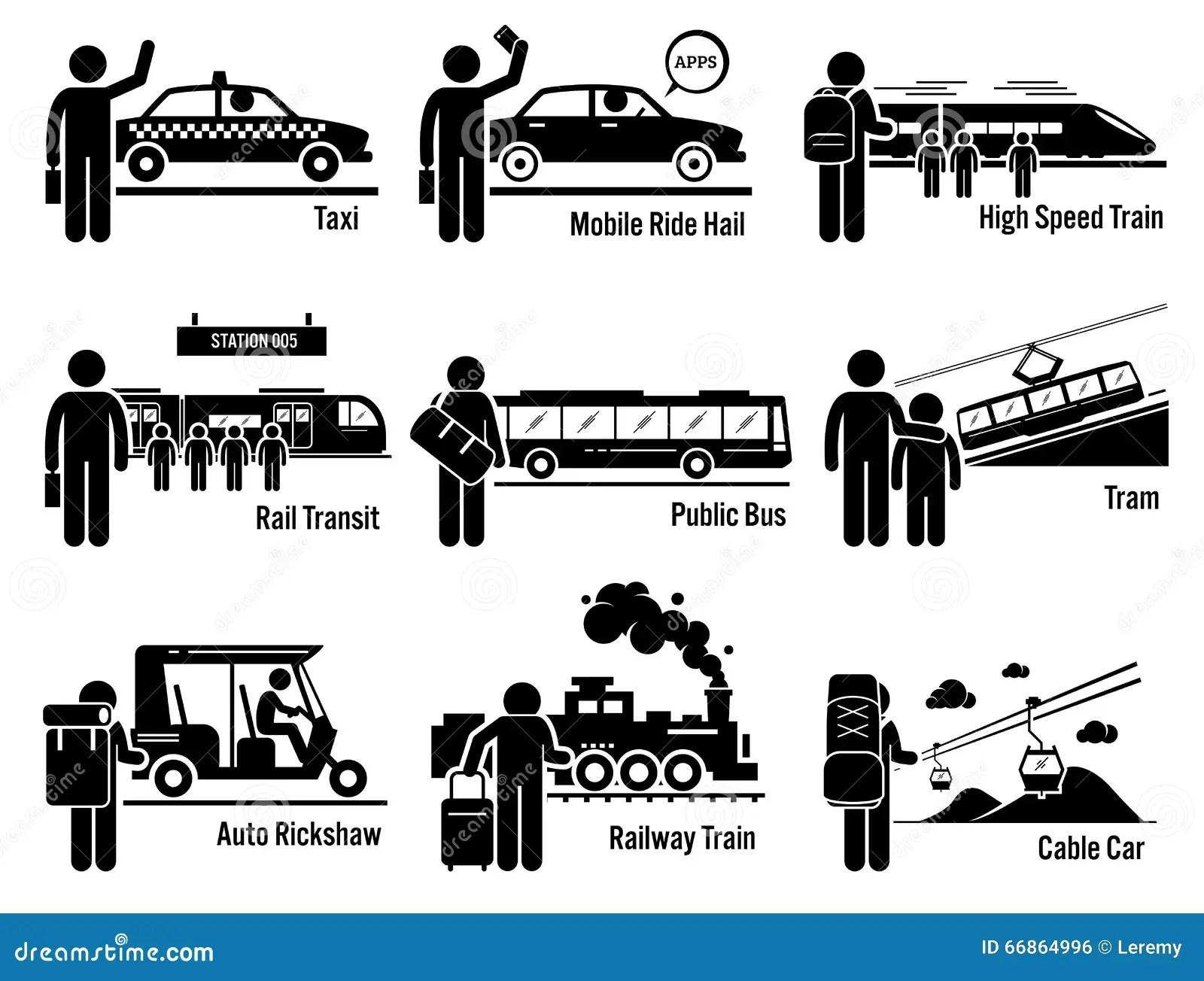 Land Public Transportation Vehicles And People Set Clipart