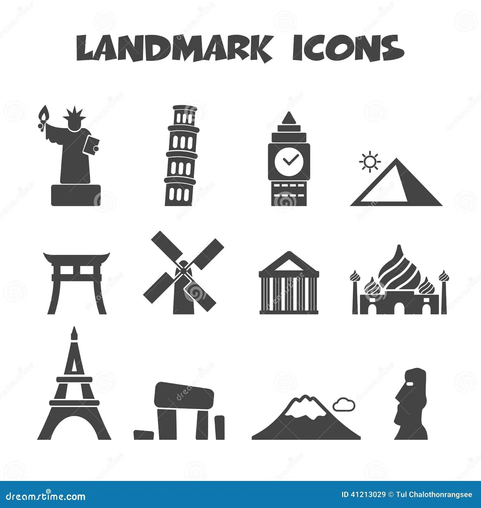 Landmark Icons Stock Vector