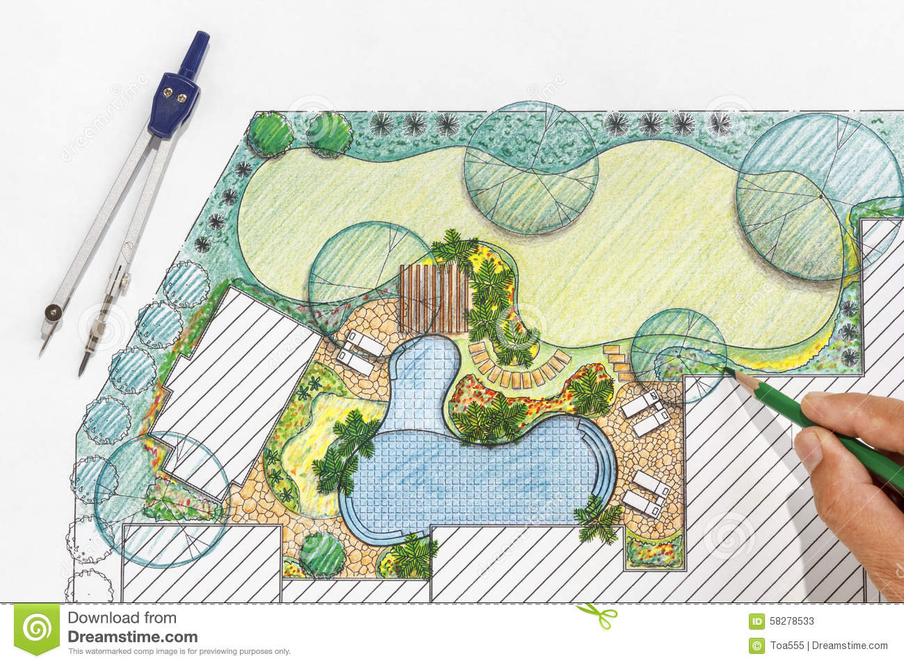 Landscape Architect Design Backyard Plan For Villa Stock ... on Backyard Layout Planner  id=15039