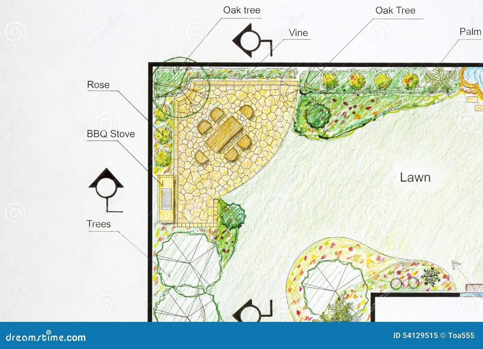 Landscape Architect Design Garden Plan Stock Image - Image ... on L Shaped Backyard Layout id=67802