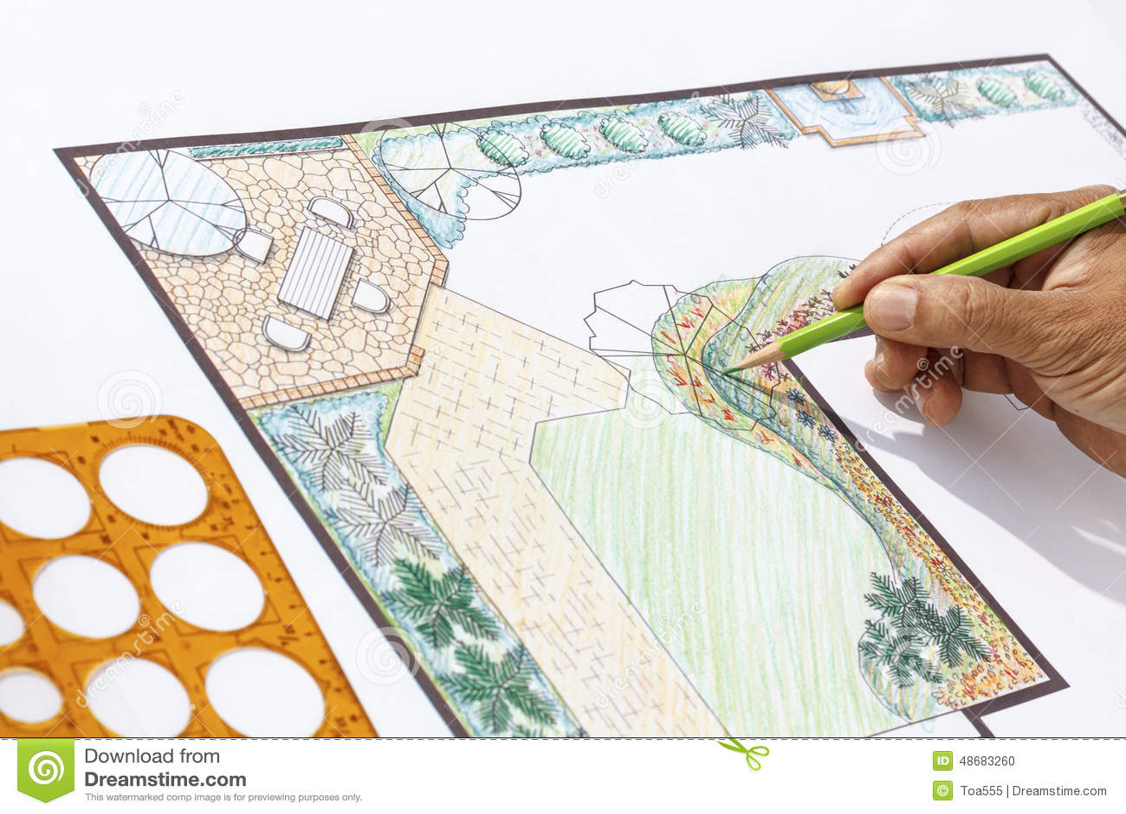 Landscape Architect Design L Shape Garden Plan Stock Photo ... on L Shaped Backyard Layout id=42123