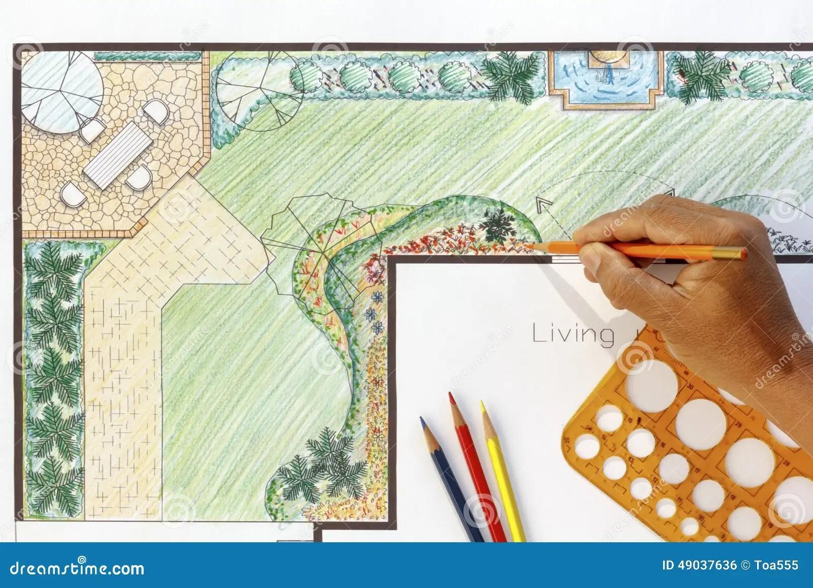 Landscape Architect Design L Shape Garden Plan Stock Photo ... on L Shaped Backyard Layout id=36643
