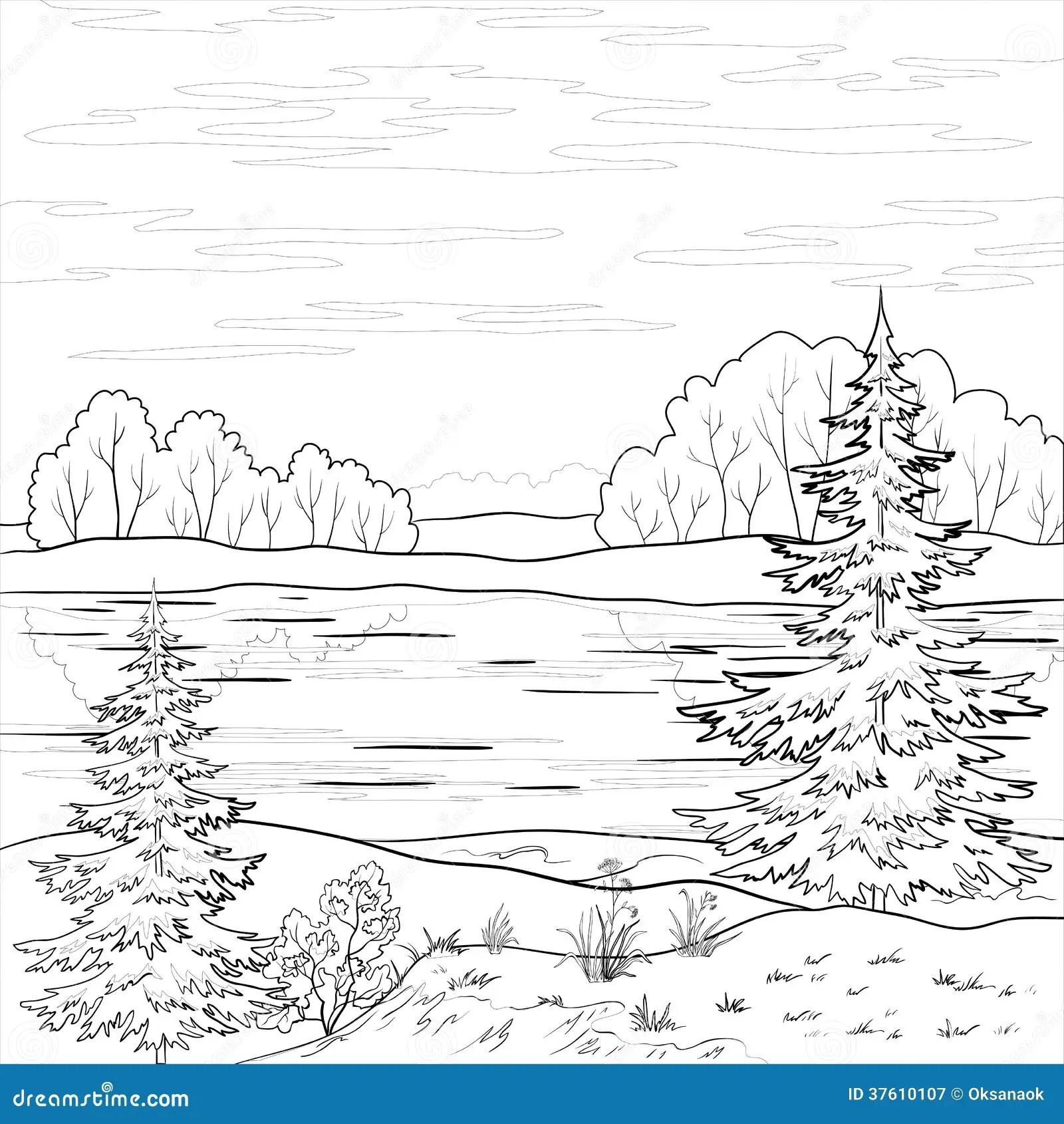 Landscape Forest River Outline Cartoon Vector