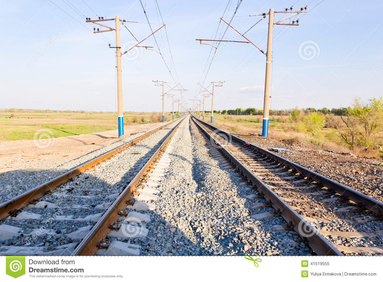 Landscape With Railroad Perspective Stock Image