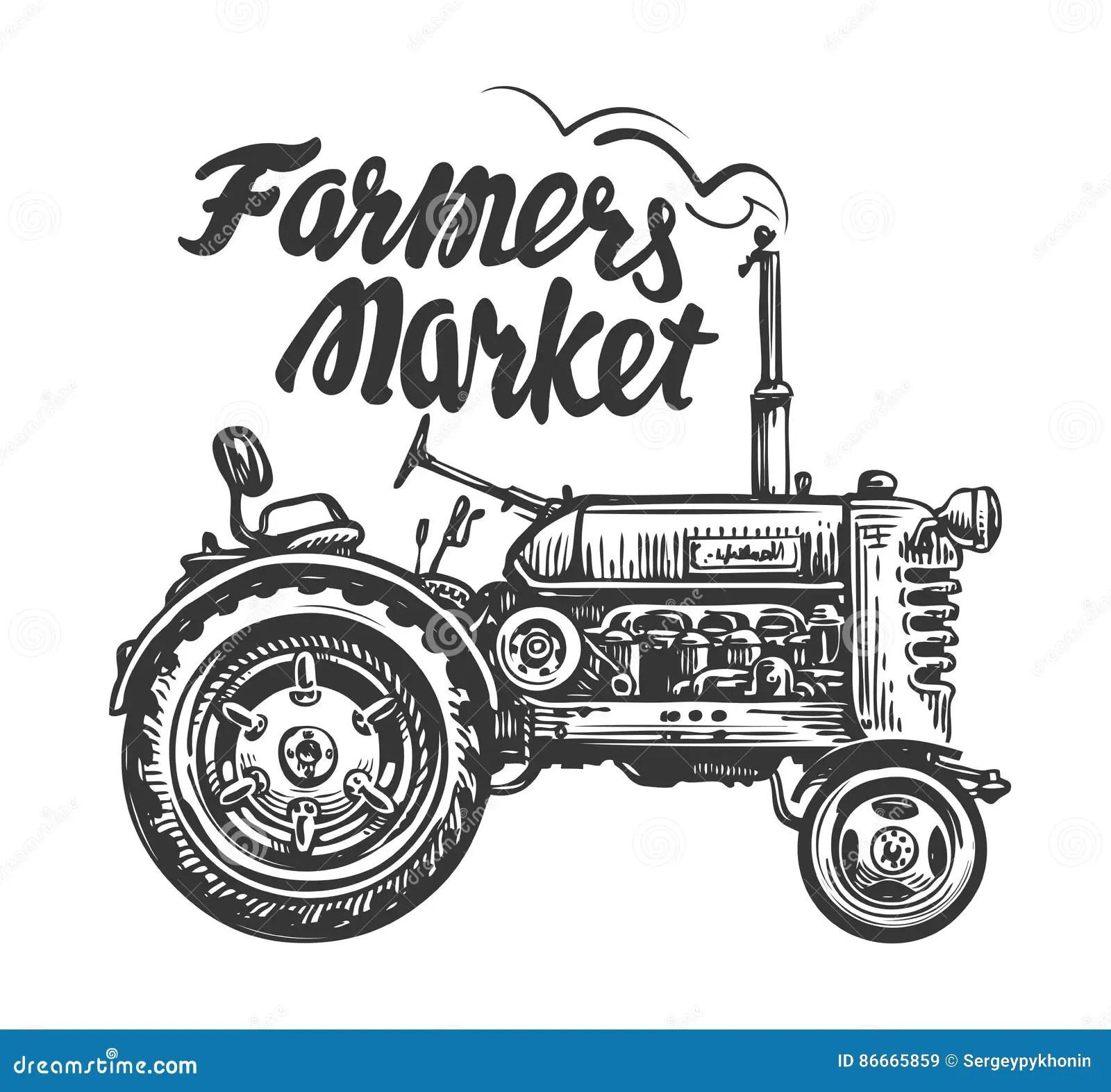 Landwirtschaftlicher Traktor Der Weinlese Skizze