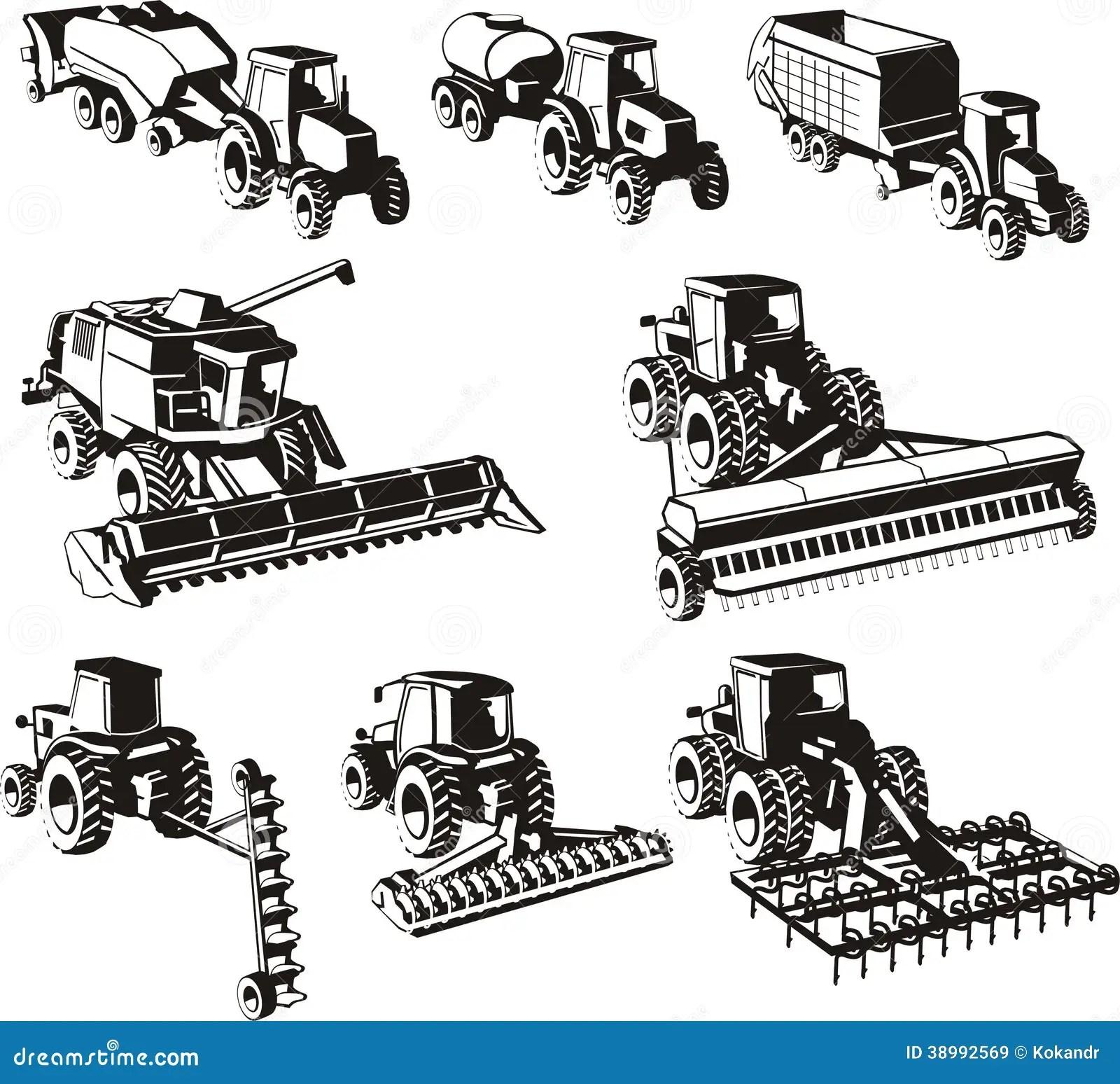 Landwirtschaftsmaschinen Eingestellt Vektor Abbildung