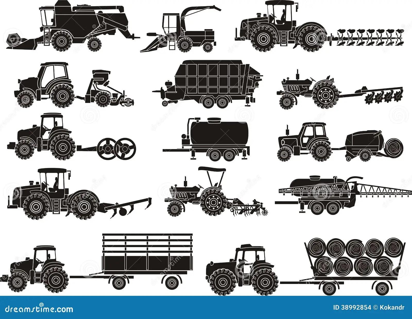 Landwirtschaftsmaschinen Eingestellt Stockfoto