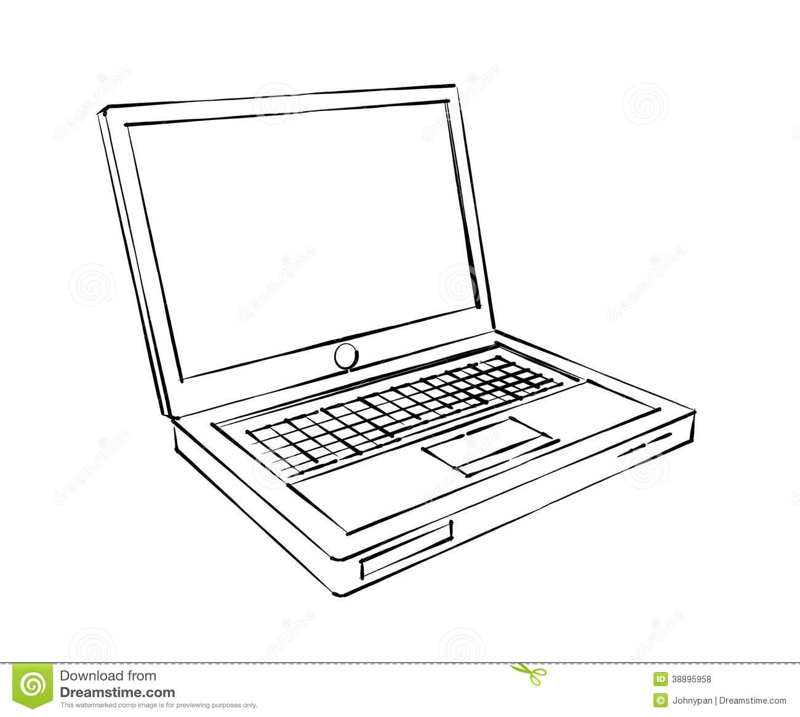 Laptop Computer Sketch Stock Illustration Illustration Of