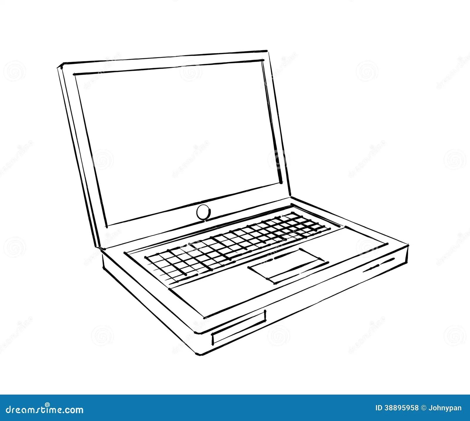 Laptop Computerschets Stock Illustratie Illustratie