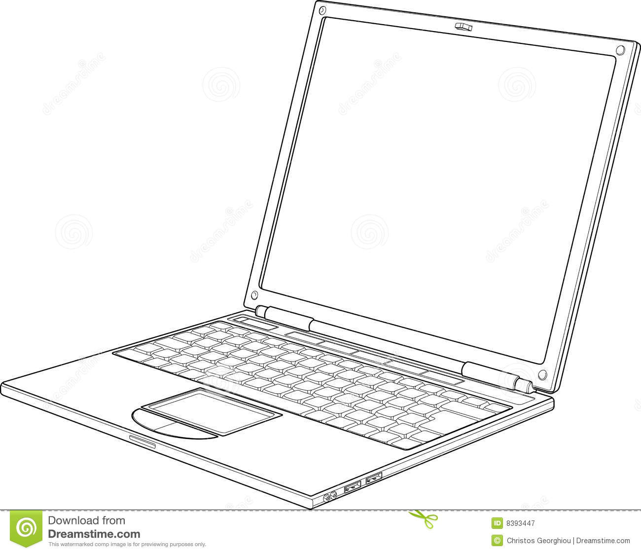 Laptop Outline Vector Illustration Royalty Free Stock
