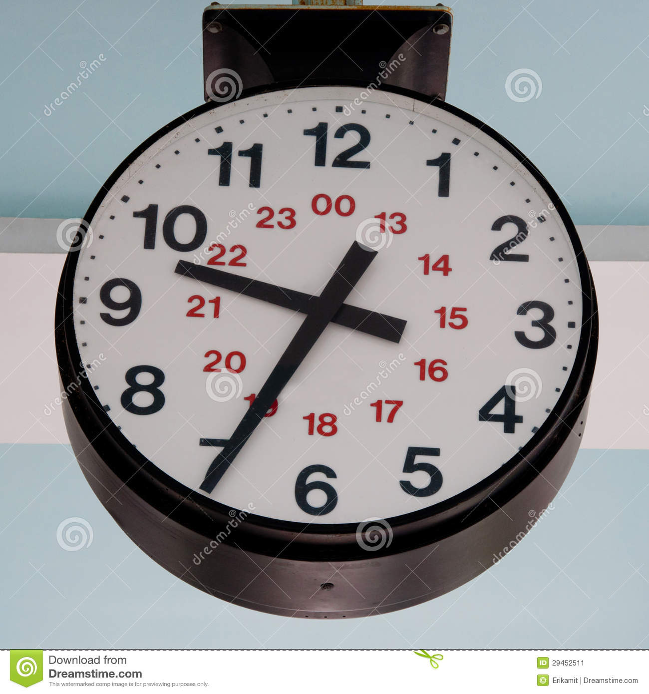 Large 24 Hour Clock Outdoors Stock Image