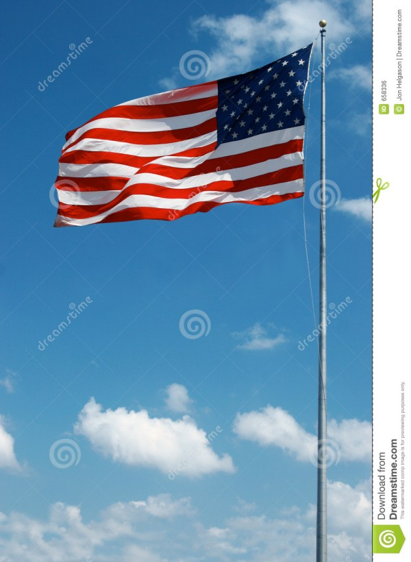 Large American Flag Waving In The Wind Royalty Free Stock