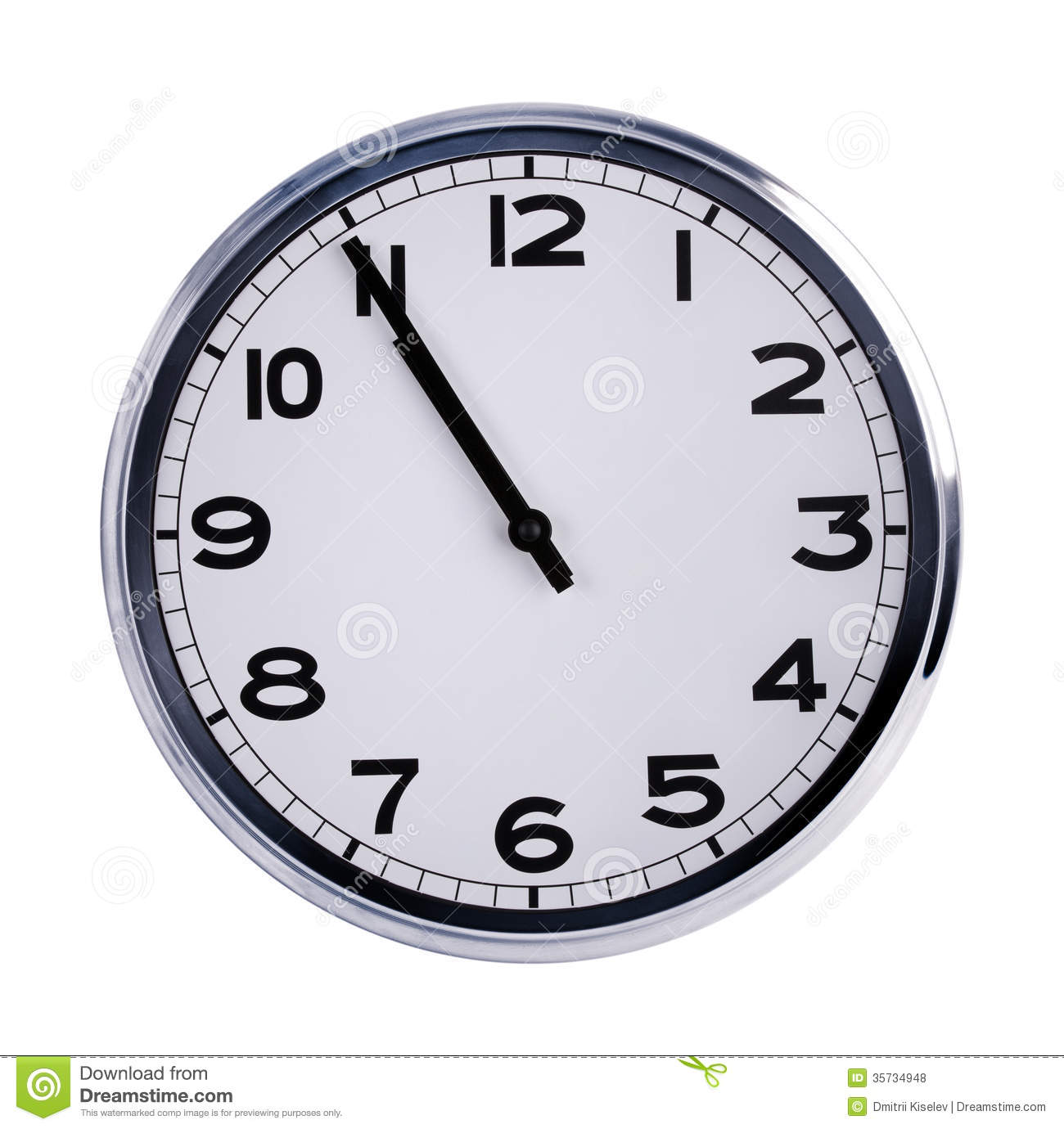 Large Clock Shows Five Minutes To Eleven Royalty Free