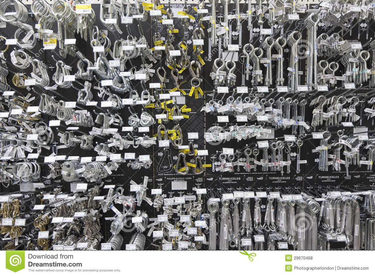 Large Group Of Metallic Equipments On Display In Hardware Store Stock Photo