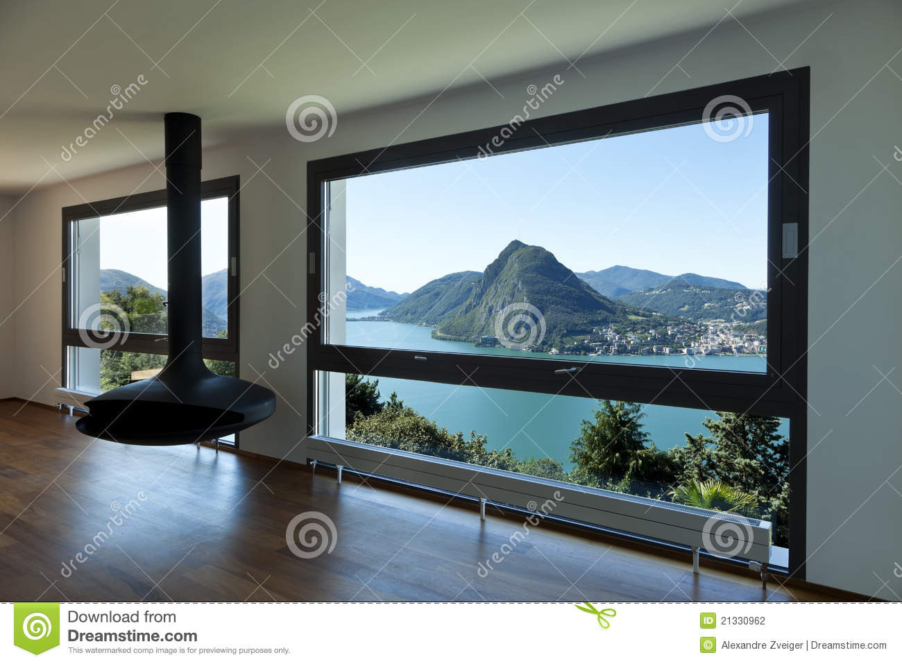 Large Living Room With Panoramic Window Stock Photography