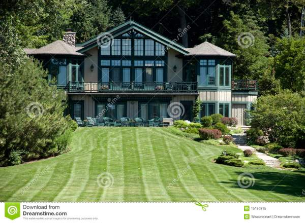 Large Luxury Mansion Estate Home And Grass Lawn Royalty ...